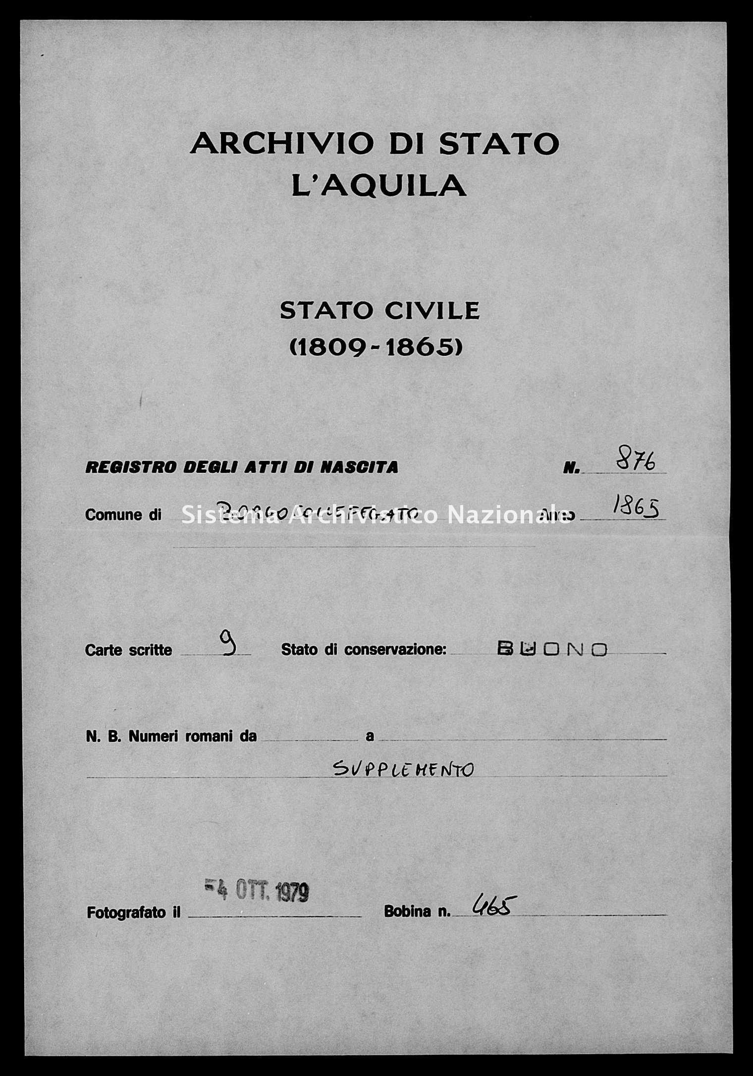 Archivio di stato di L'aquila - Stato civile italiano - Borgocollefegato - Nati, esposti - 1865 - 876 -