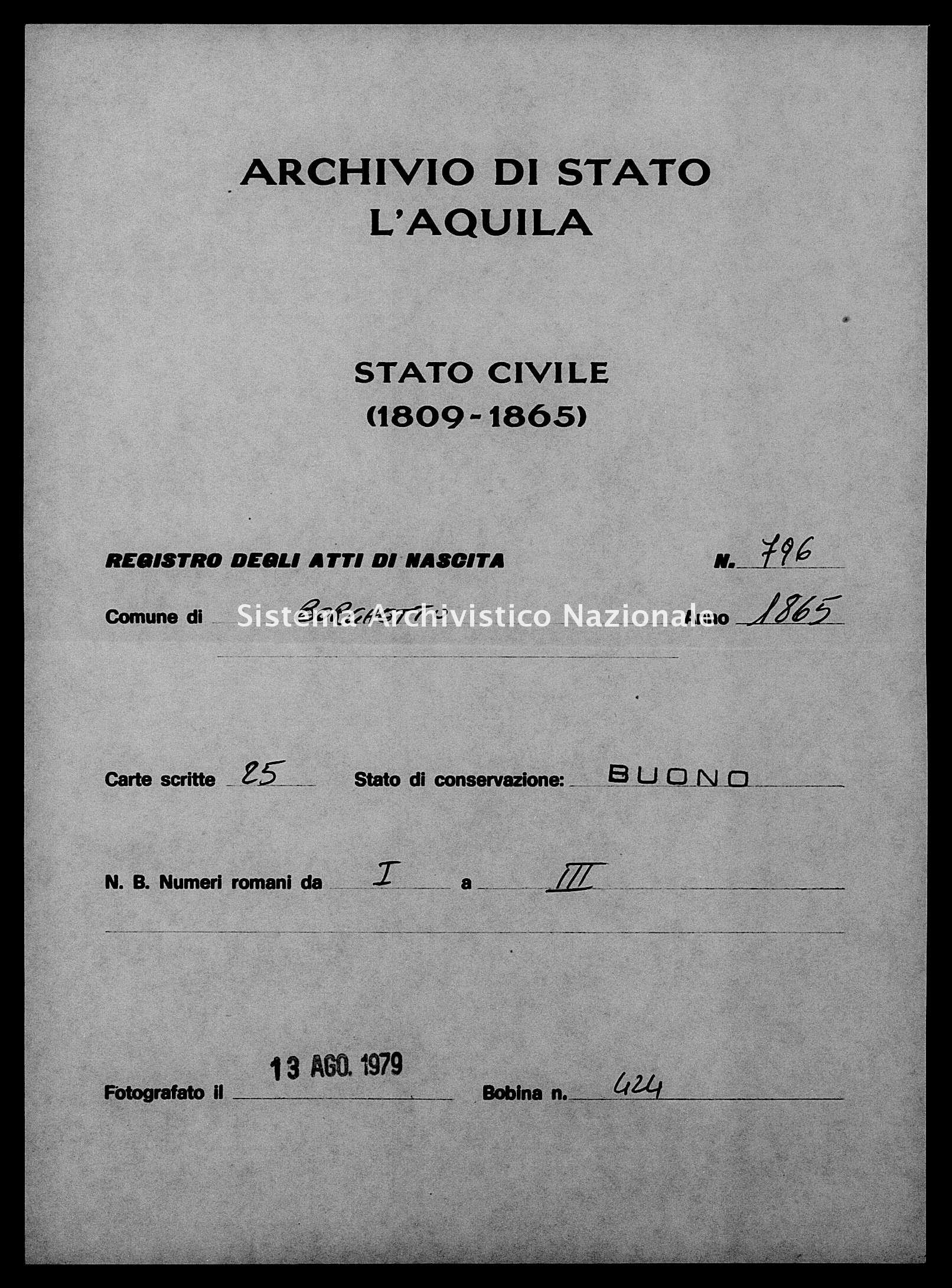 Archivio di stato di L'aquila - Stato civile italiano - Borgo Velino - Nati - 1865 - 796 -