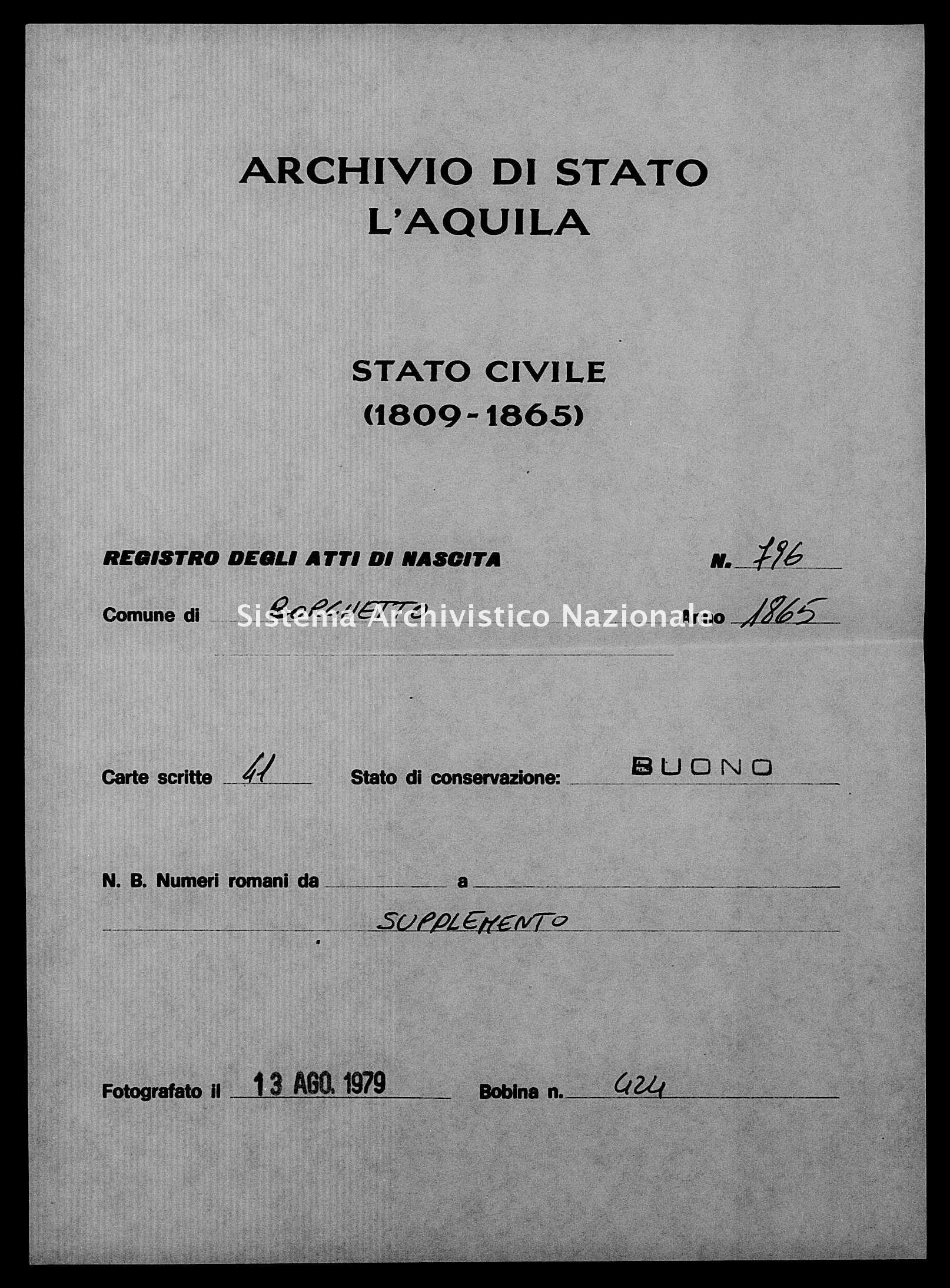 Archivio di stato di L'aquila - Stato civile italiano - Borgo Velino - Nati, battesimi - 1865 - 796 -
