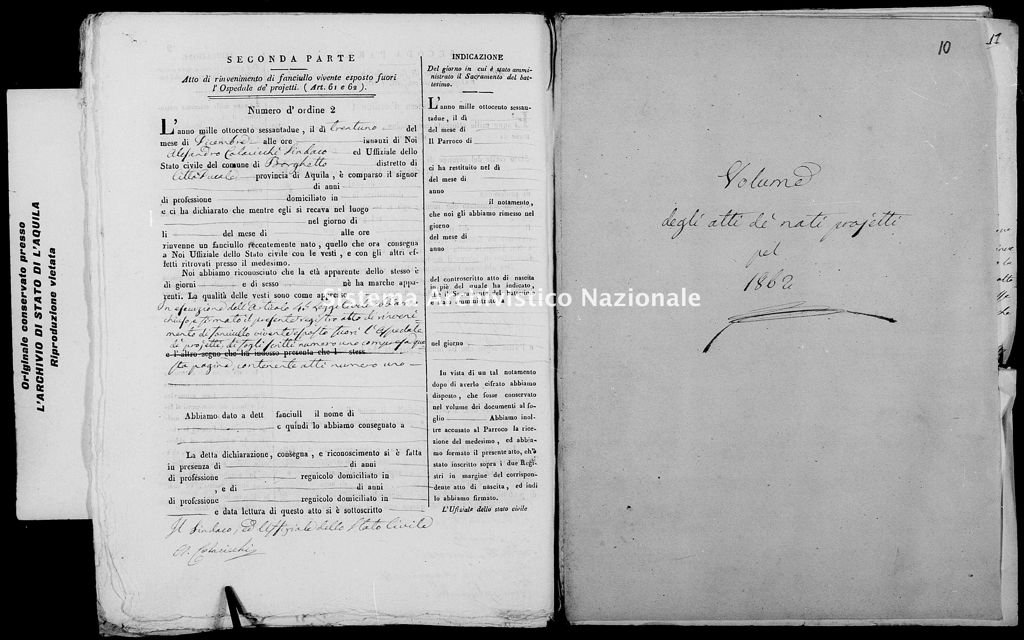Archivio di stato di L'aquila - Stato civile italiano - Borgo Velino - Nati, battesimi esposti - 1862 - 795 -
