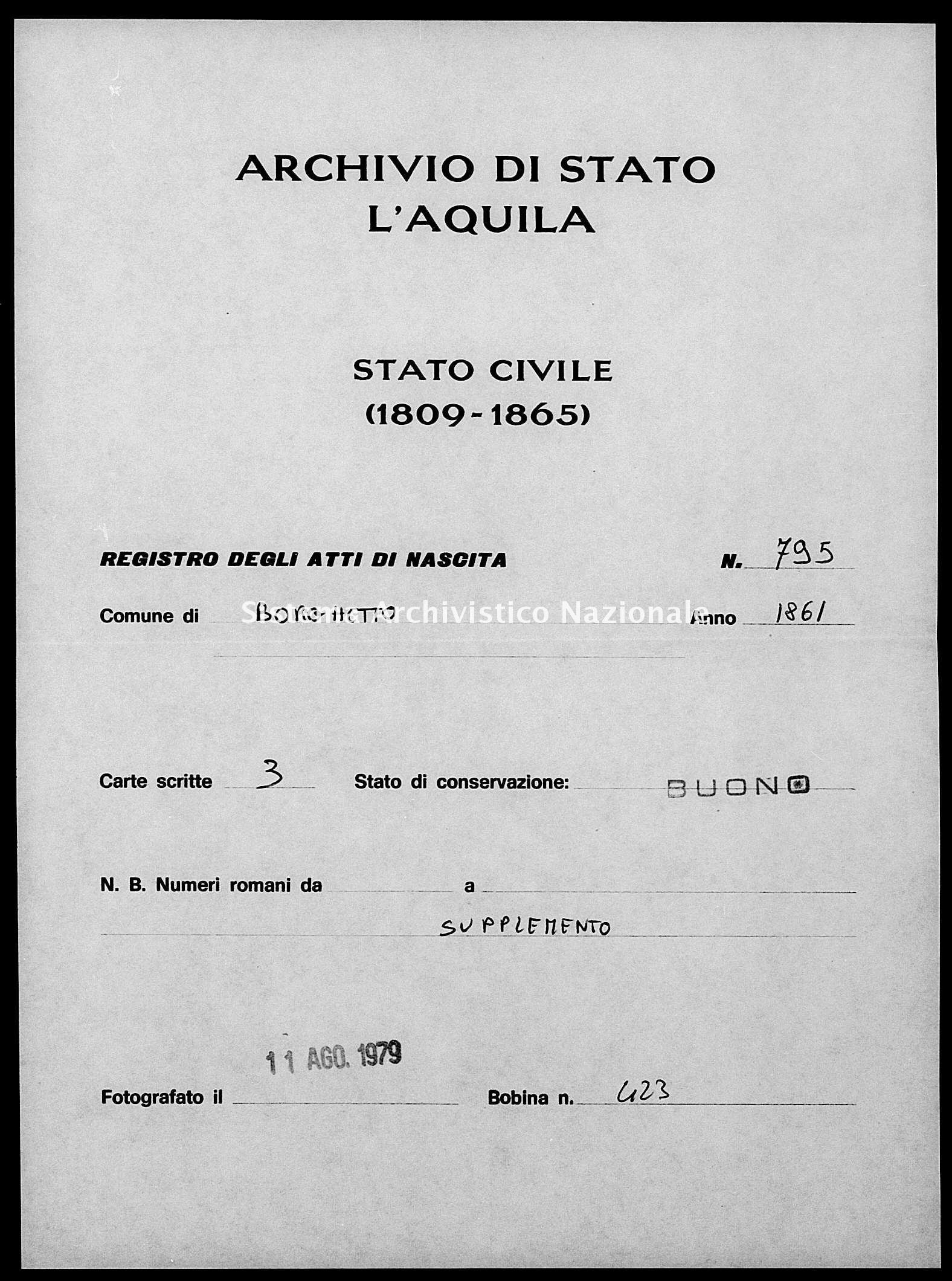 Archivio di stato di L'aquila - Stato civile italiano - Borgo Velino - Nati, esposti - 1861 - 795 -