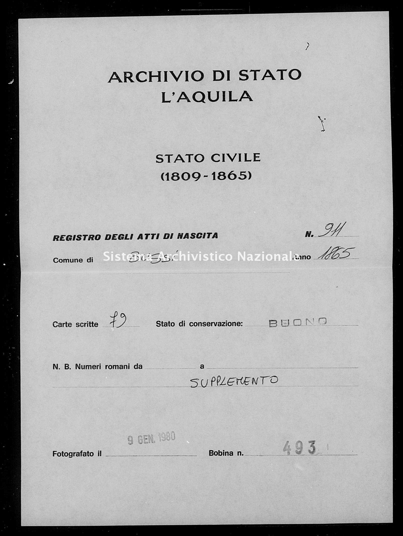 Archivio di stato di L'aquila - Stato civile italiano - Bussi sul Tirino - Nati, battesimi - 1865 - 911 -