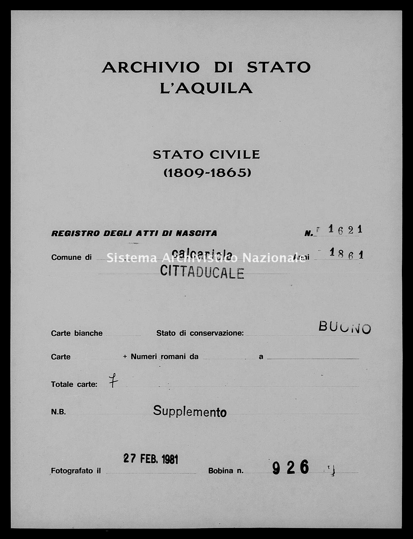 Archivio di stato di L'aquila - Stato civile italiano - Calcariola - Nati, battesimi - 1861 - 1621 -