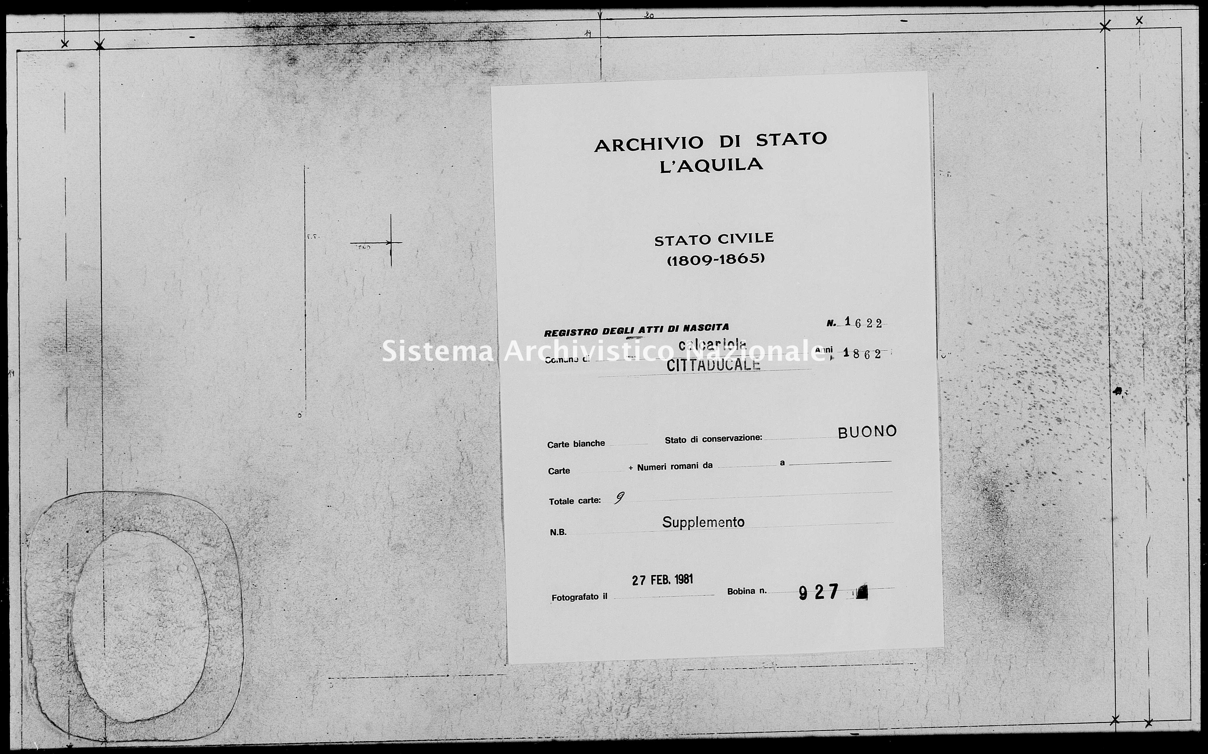 Archivio di stato di L'aquila - Stato civile italiano - Calcariola - Nati, battesimi - 1862 - 1622 -