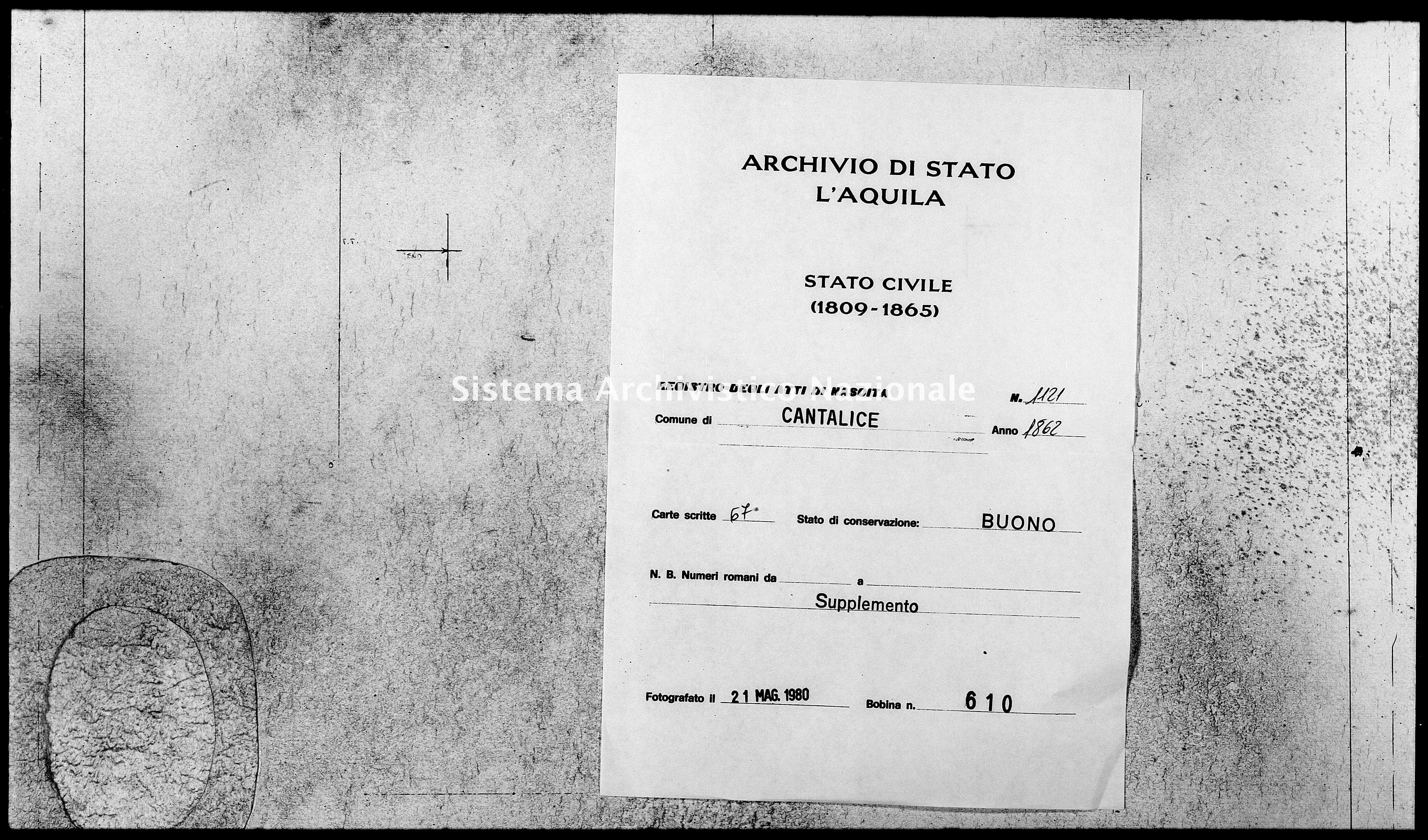 Archivio di stato di L'aquila - Stato civile italiano - Cantalice - Nati, battesimi - 1862 - 1121 -