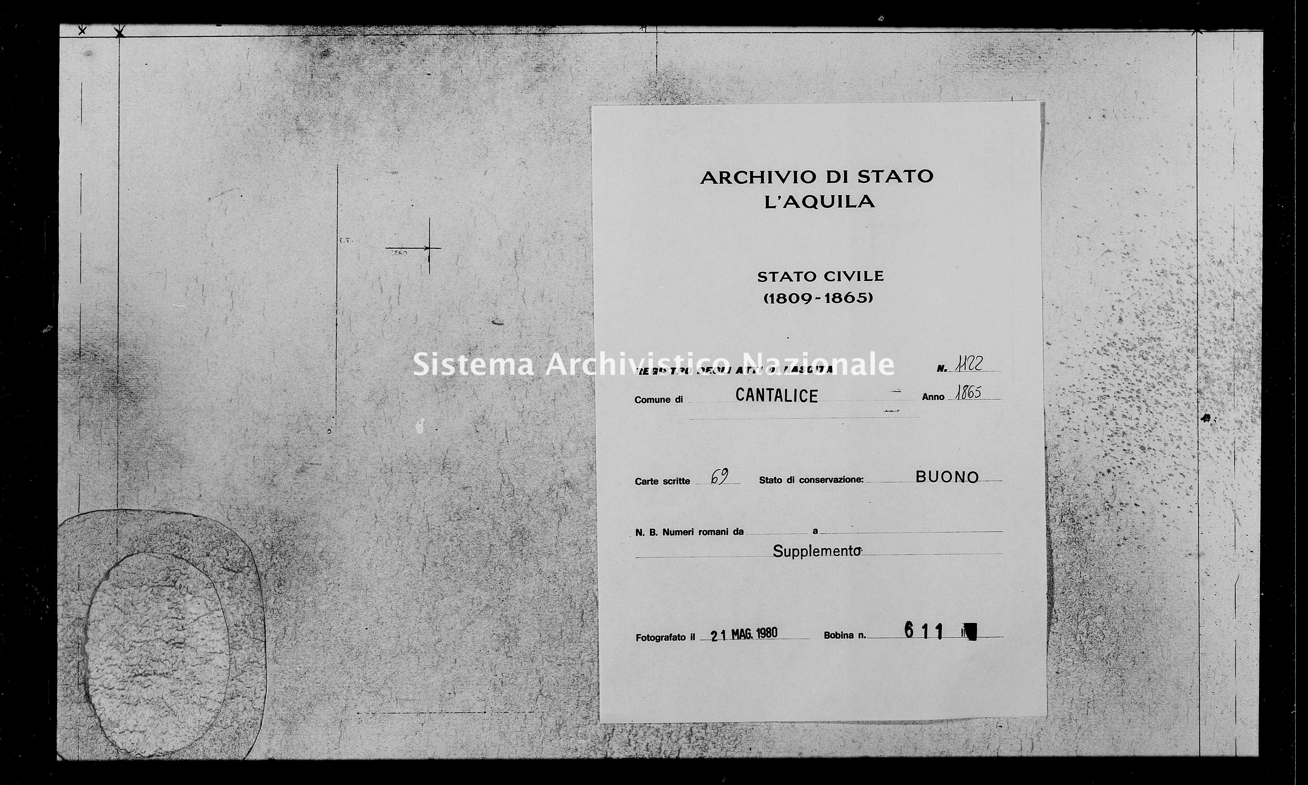 Archivio di stato di L'aquila - Stato civile italiano - Cantalice - Nati, battesimi - 1865 - 1122 -