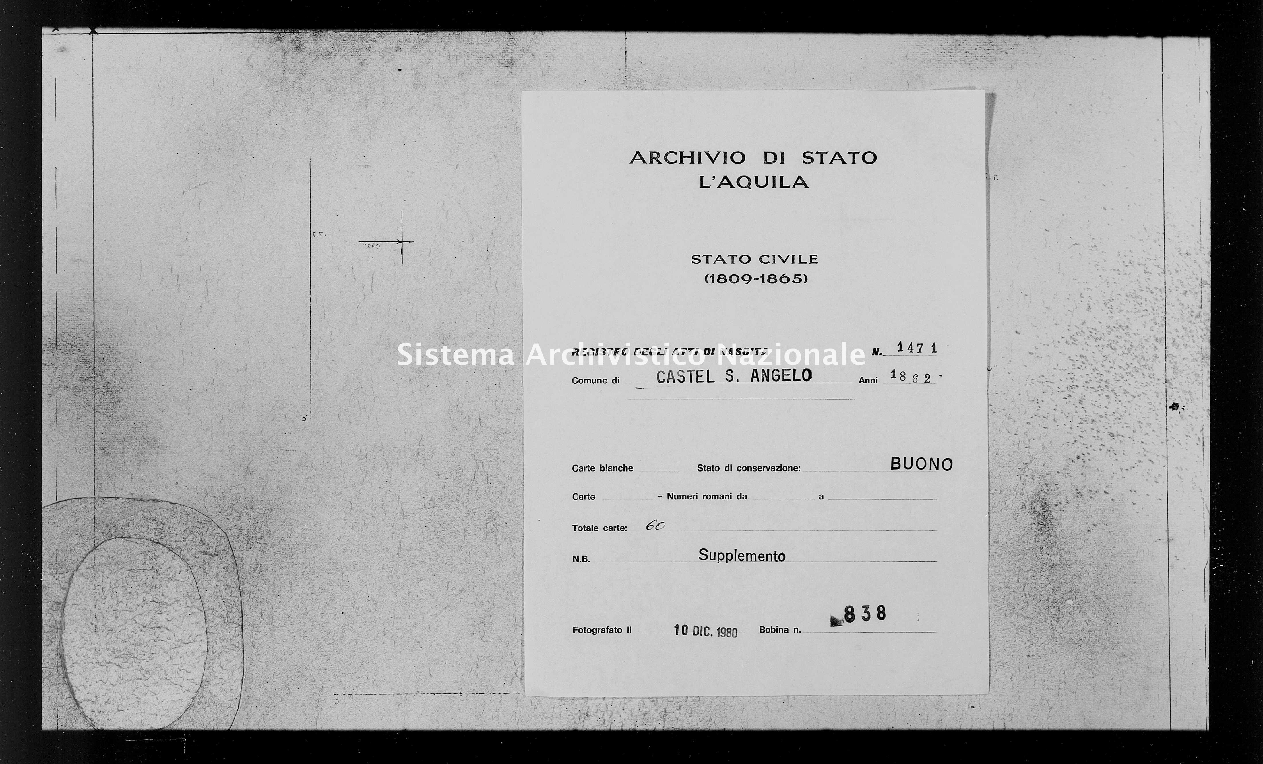 Archivio di stato di L'aquila - Stato civile italiano - Castel Sant'Angelo - Nati, battesimi - 1862 - 1471 -
