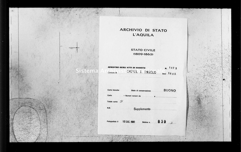 Archivio di stato di L'aquila - Stato civile italiano - Castel Sant'Angelo - Nati, battesimi - 1865 - 1473 -