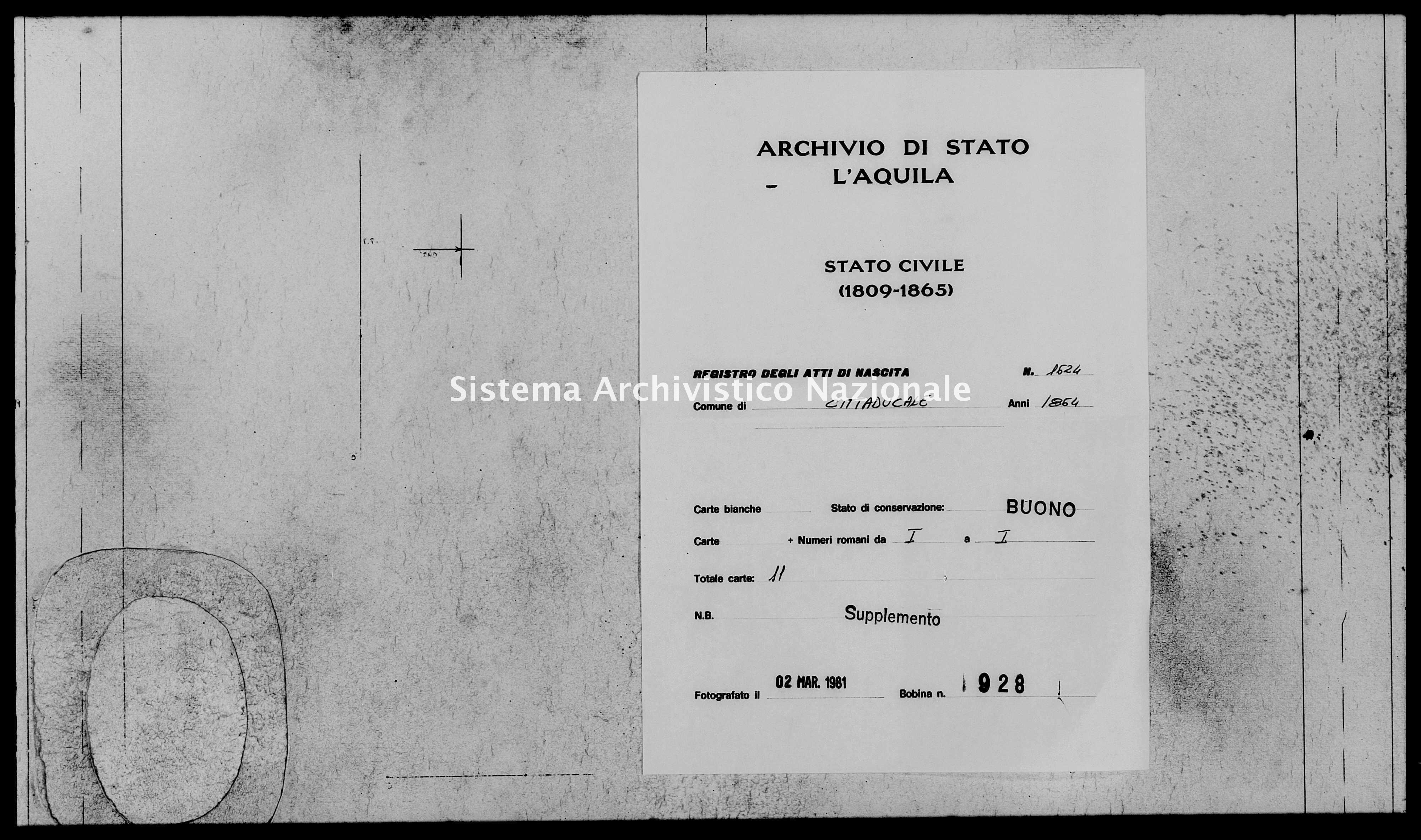 Archivio di stato di L'aquila - Stato civile italiano - Cittaducale - Nati, esposti - 1864 - 1624 -