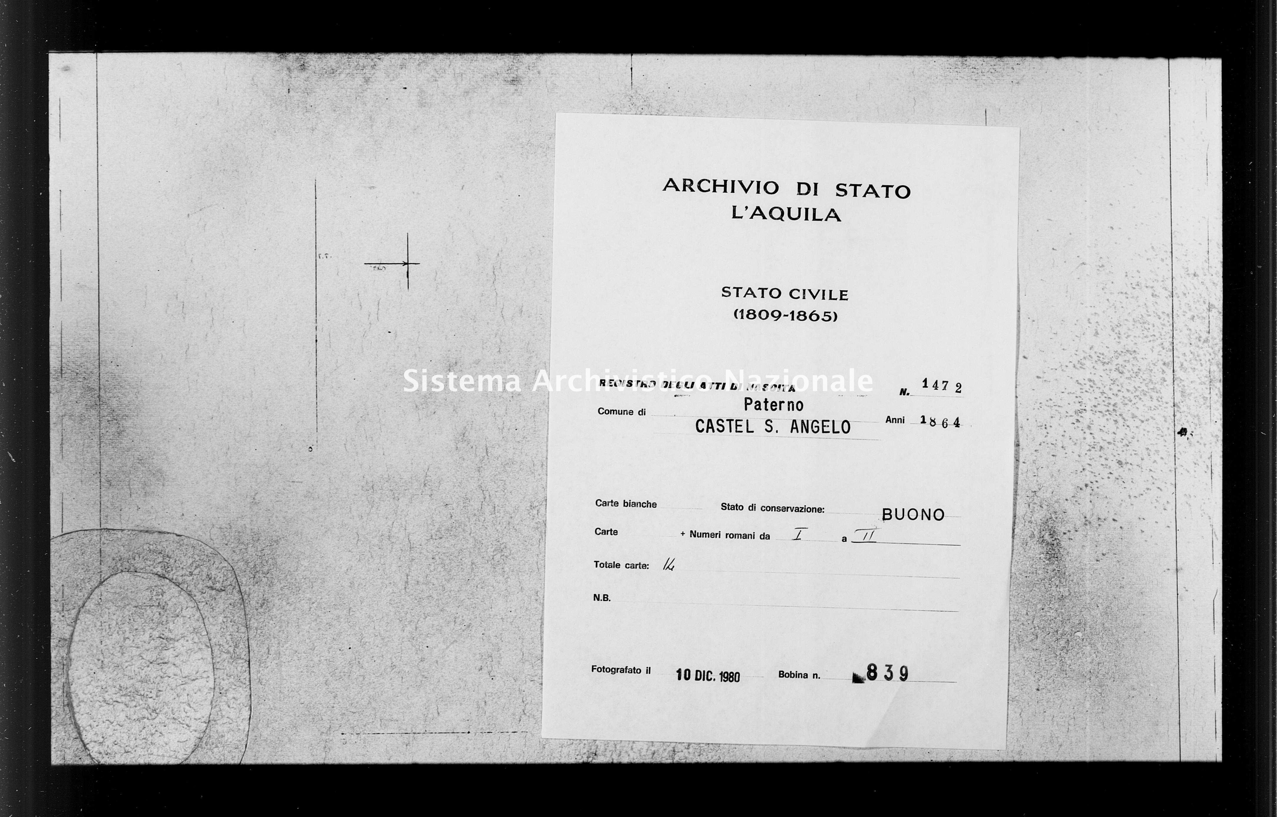 Archivio di stato di L'aquila - Stato civile italiano - Paterno - Nati - 1864 - 1472 -