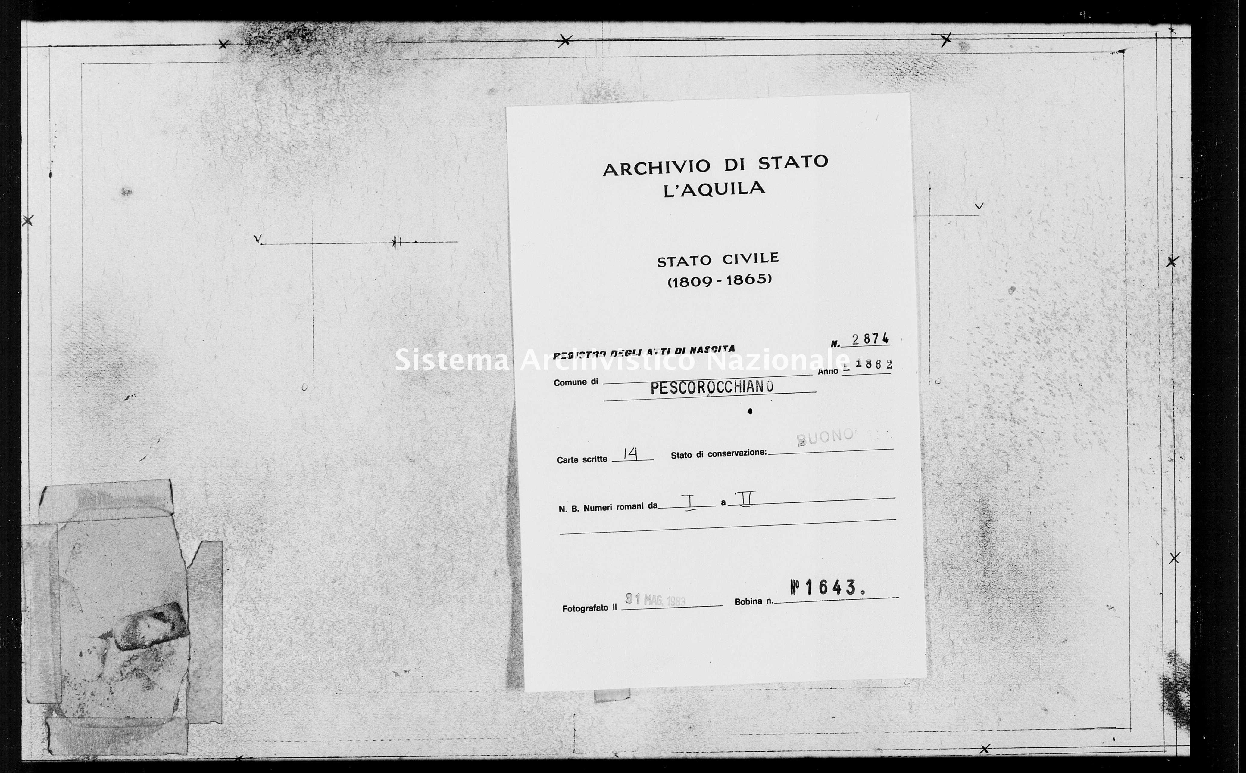 Archivio di stato di L'aquila - Stato civile italiano - Pescorocchiano - Nati - 1862 - 2874 -
