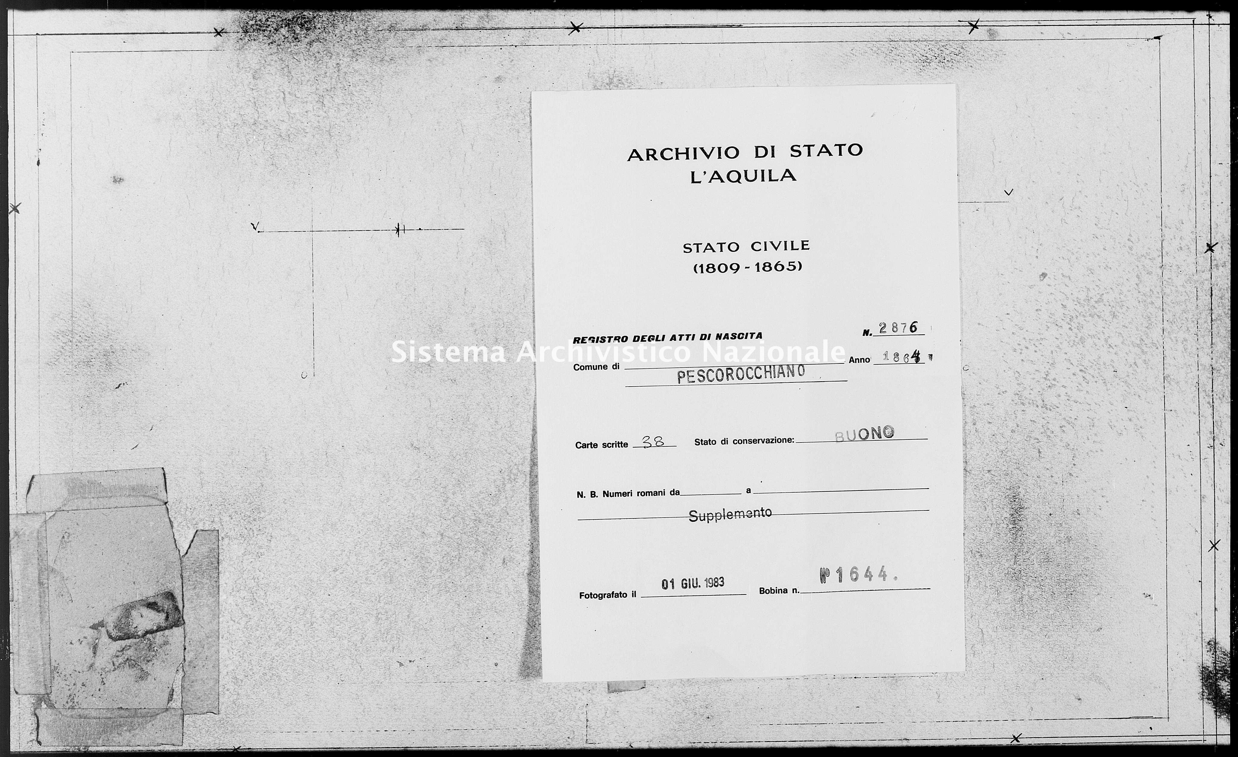 Archivio di stato di L'aquila - Stato civile italiano - Pescorocchiano - Nati, battesimi - 1864 - 2876 -