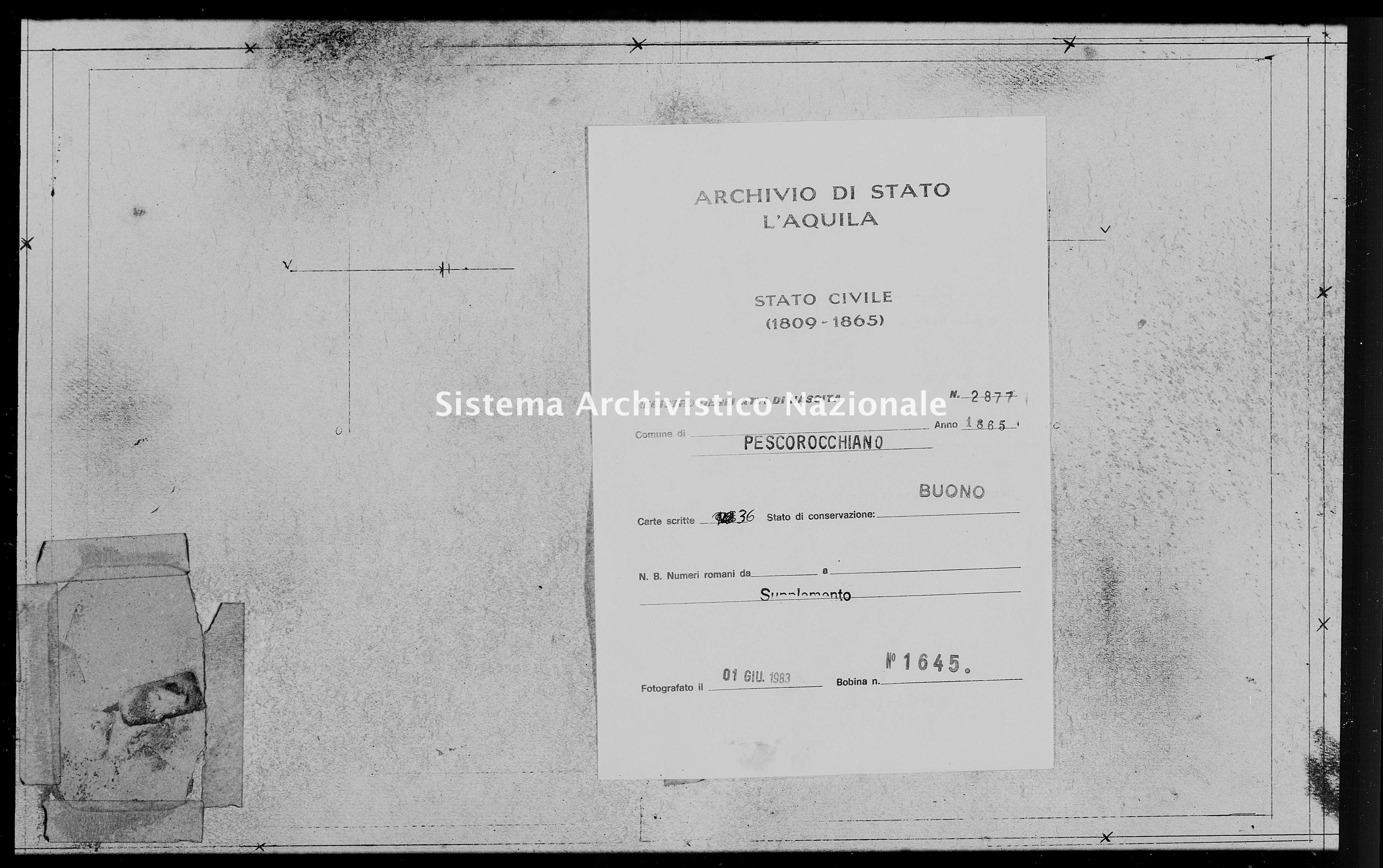 Archivio di stato di L'aquila - Stato civile italiano - Pescorocchiano - Nati, battesimi - 1865 - 2877 -