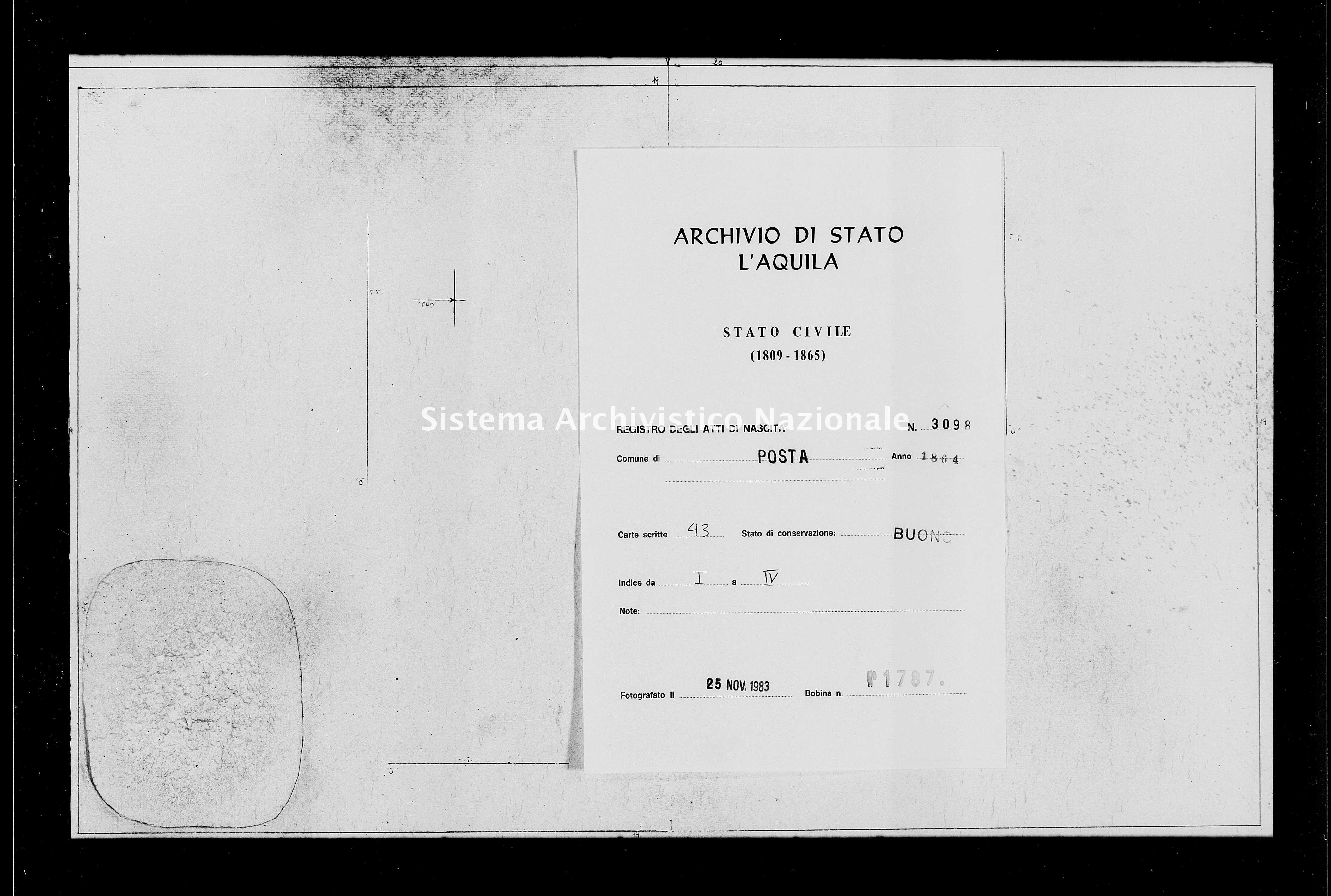 Archivio di stato di L'aquila - Stato civile italiano - Posta - Nati - 1864 - 3098 -
