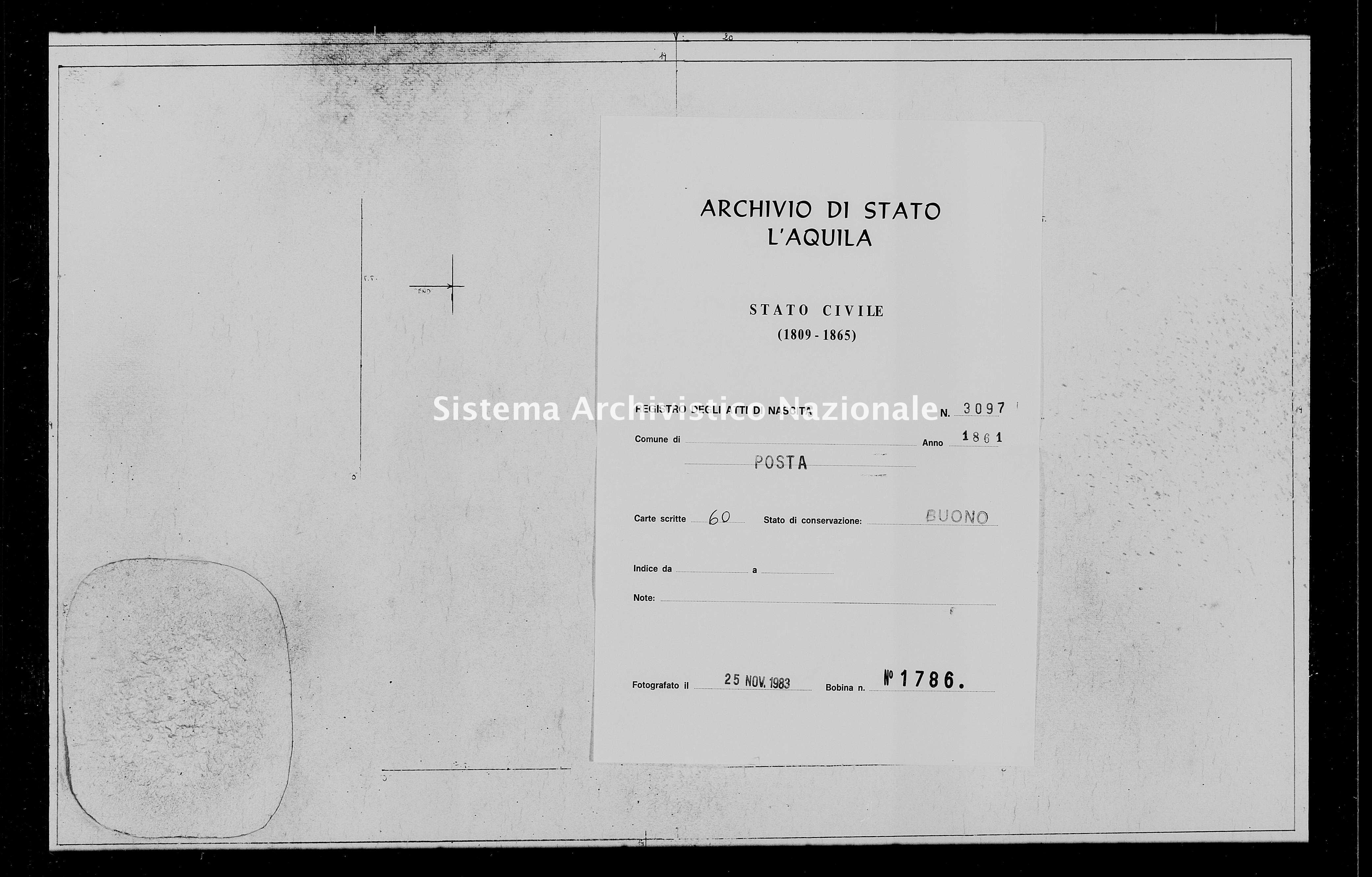 Archivio di stato di L'aquila - Stato civile italiano - Posta - Nati, battesimi - 1861 - 3097 -