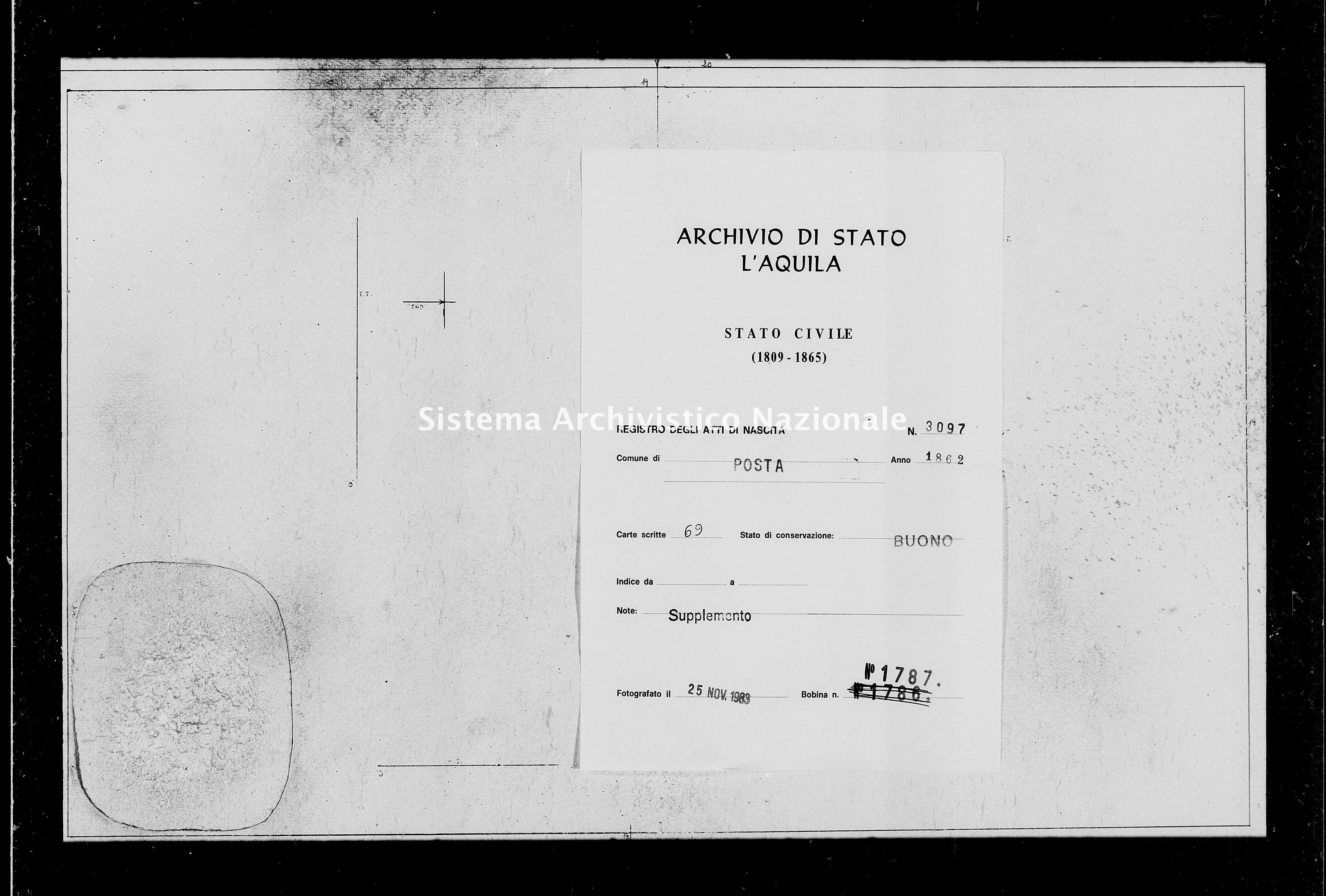 Archivio di stato di L'aquila - Stato civile italiano - Posta - Nati, battesimi - 1862 - 3097 -