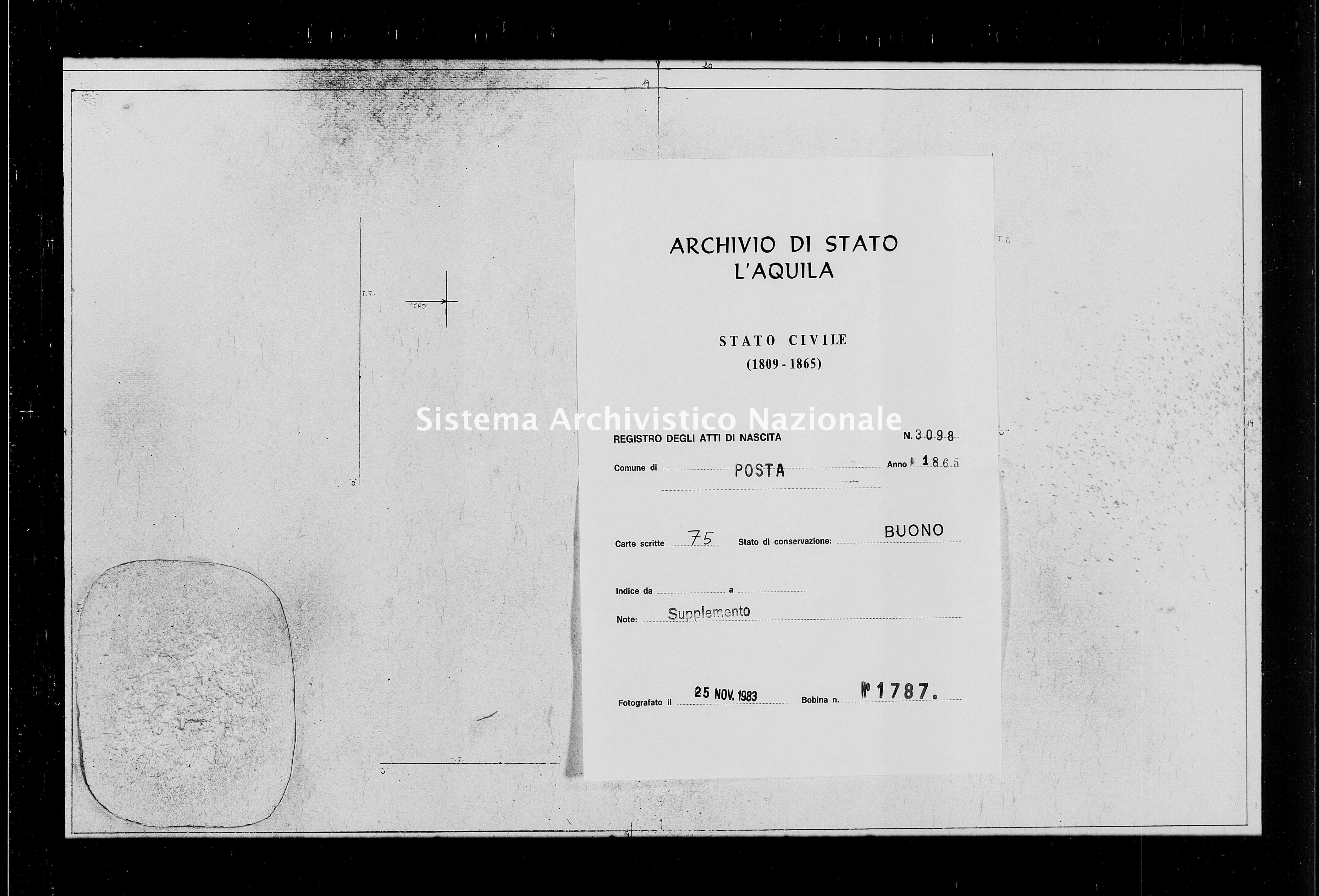 Archivio di stato di L'aquila - Stato civile italiano - Posta - Nati, battesimi - 1865 - 3098 -