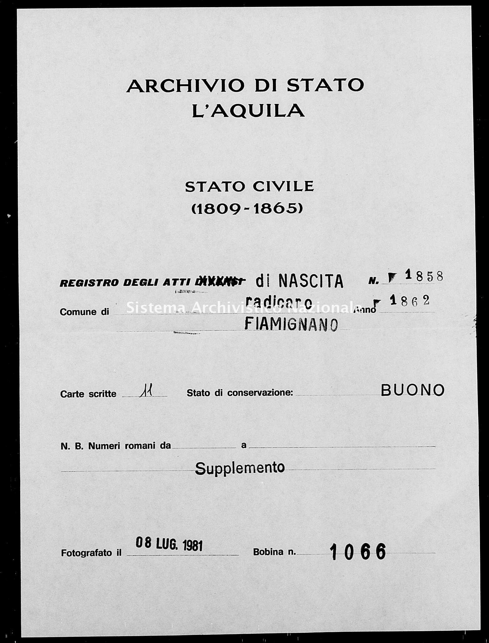Archivio di stato di L'aquila - Stato civile italiano - Radicaro - Nati, battesimi - 1862 - 1858 -