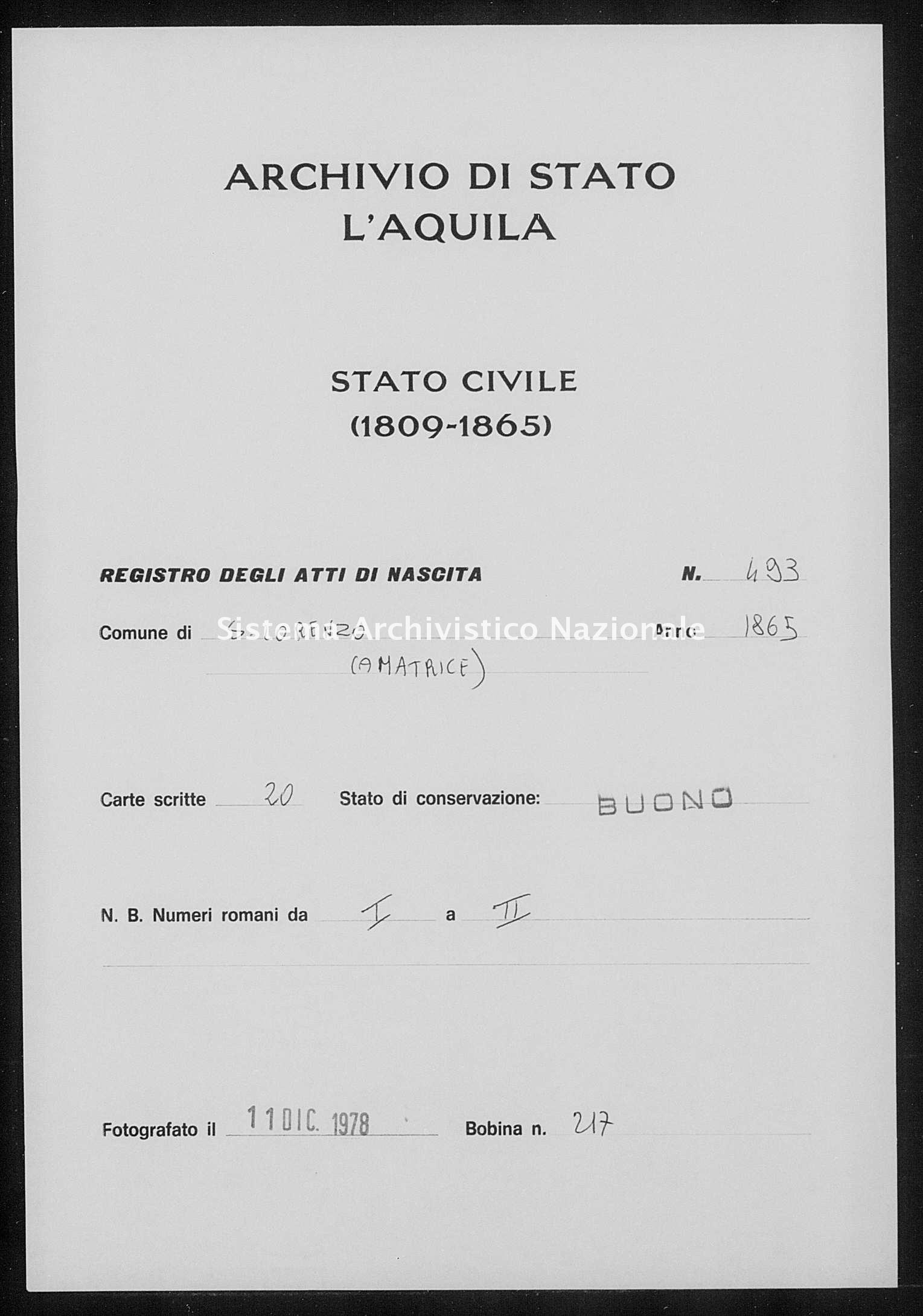 Archivio di stato di L'aquila - Stato civile italiano - San Lorenzo - Nati - 1865 - 493 -