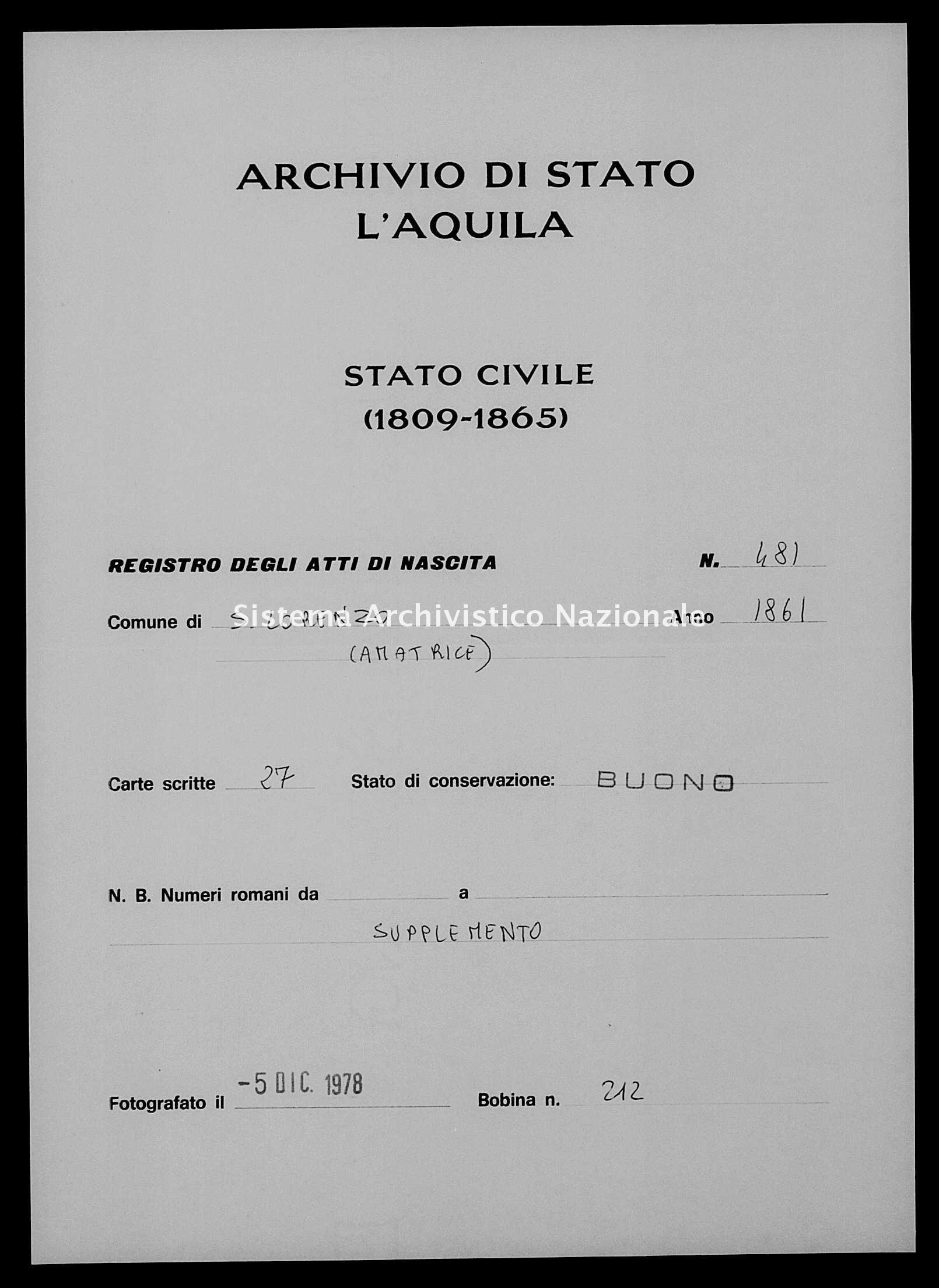 Archivio di stato di L'aquila - Stato civile italiano - San Lorenzo - Nati, battesimi - 1861 - 481 -