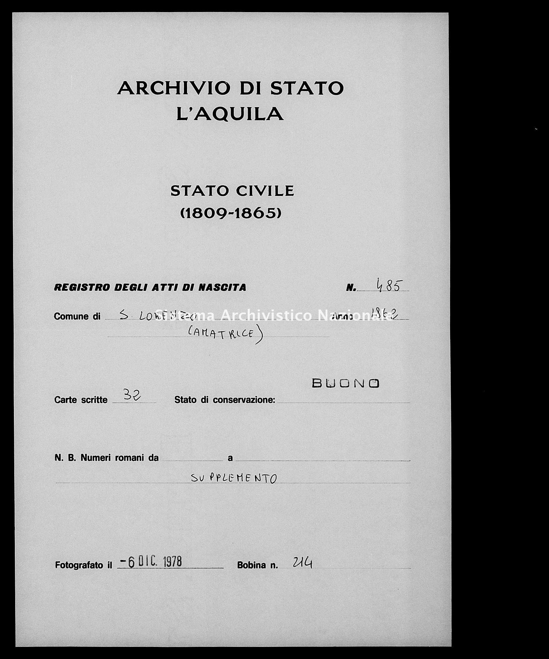 Archivio di stato di L'aquila - Stato civile italiano - San Lorenzo - Nati, battesimi - 1862 - 485 -