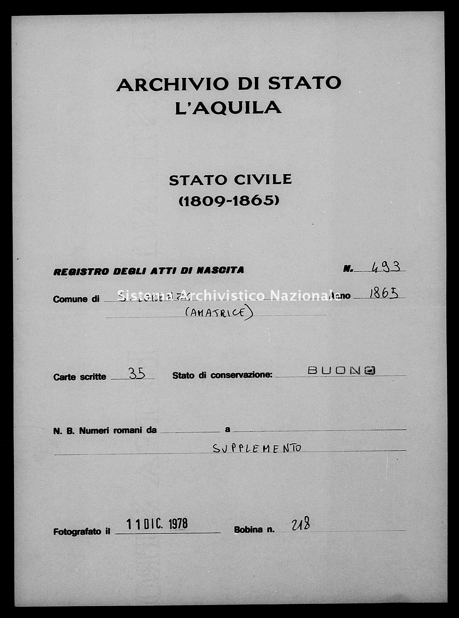 Archivio di stato di L'aquila - Stato civile italiano - San Lorenzo - Nati, battesimi - 1865 - 493 -