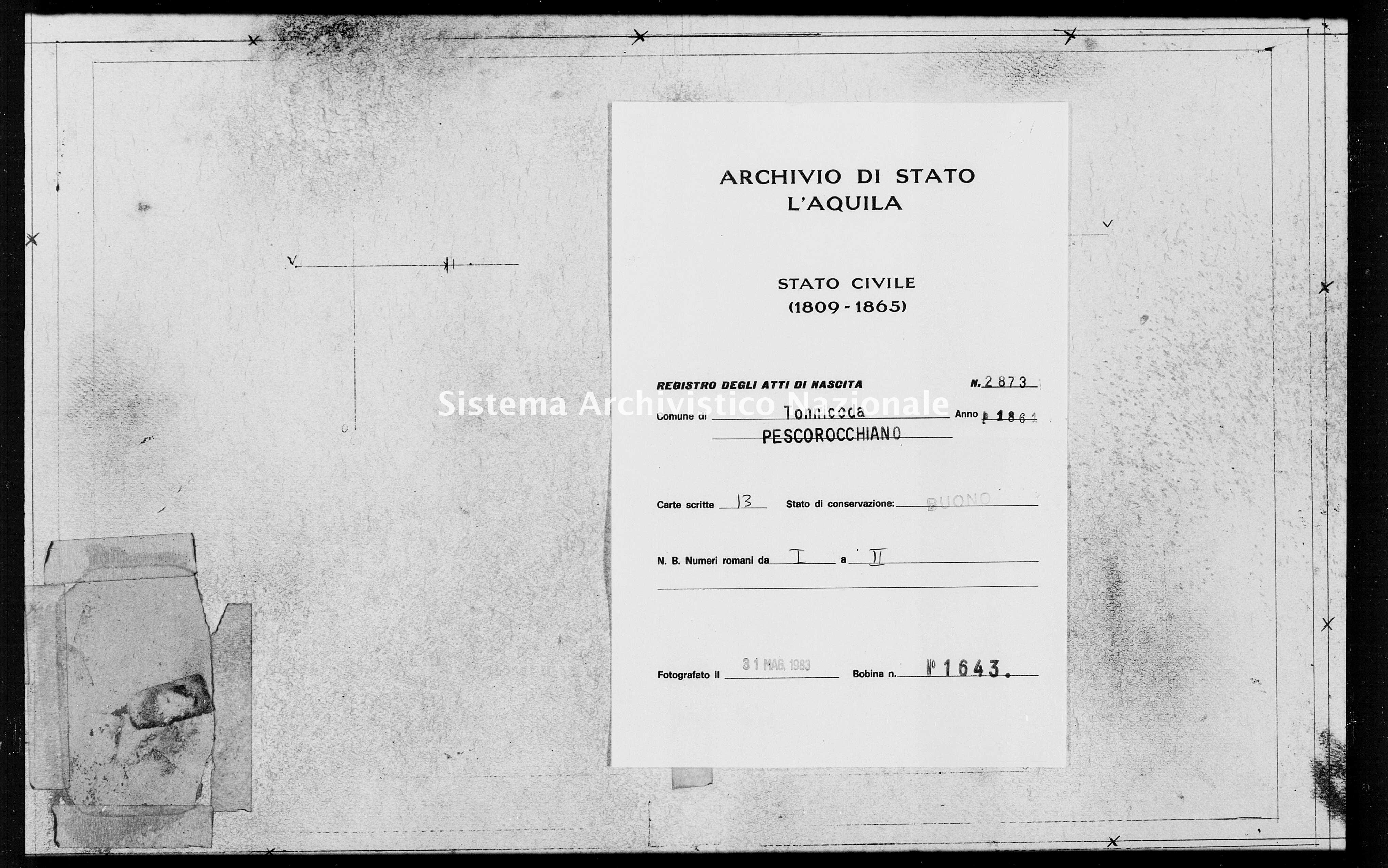 Archivio di stato di L'aquila - Stato civile italiano - Tonnicoda - Nati - 1861 - 2873 -