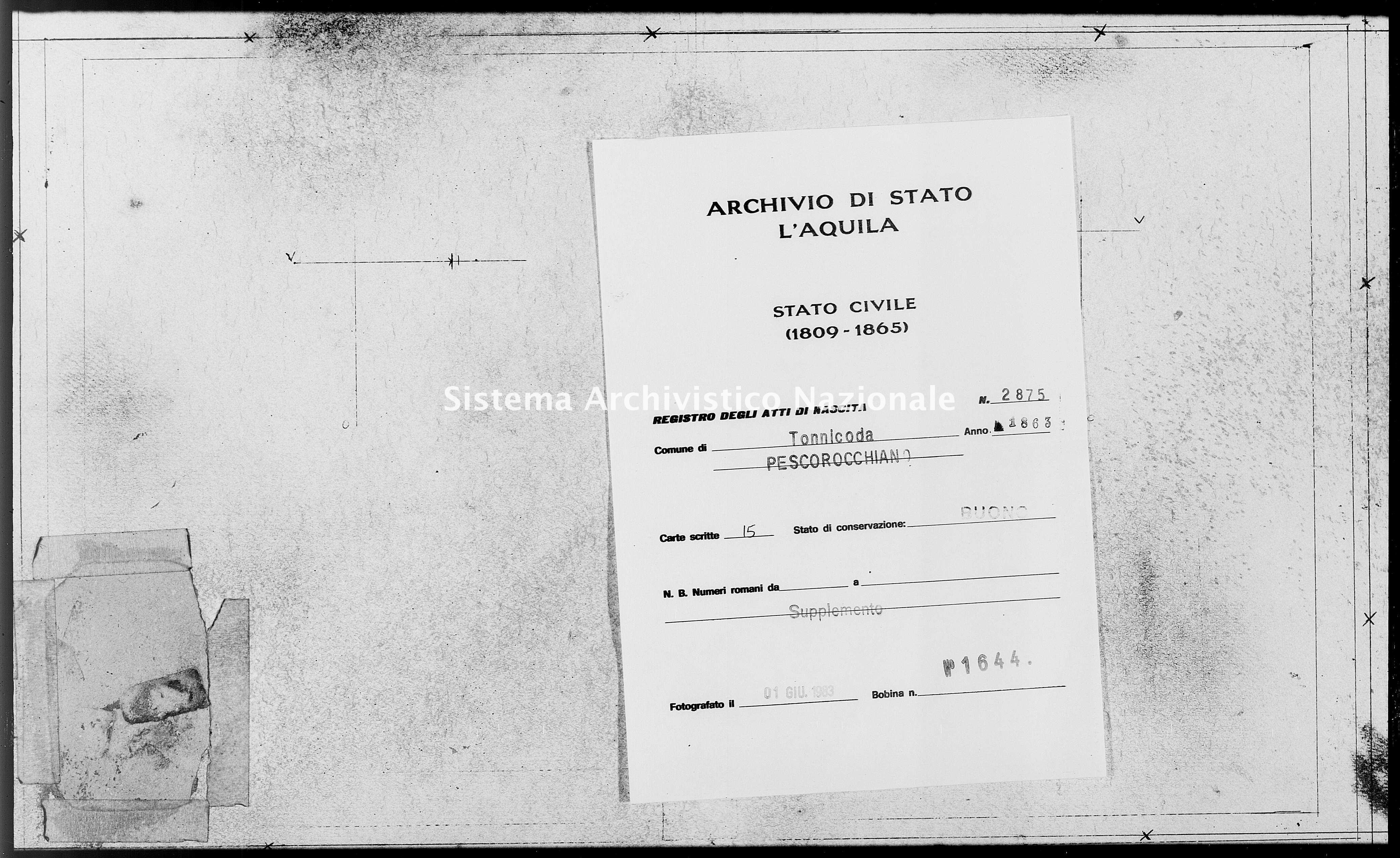 Archivio di stato di L'aquila - Stato civile italiano - Tonnicoda - Nati, battesimi - 1863 - 2875 -