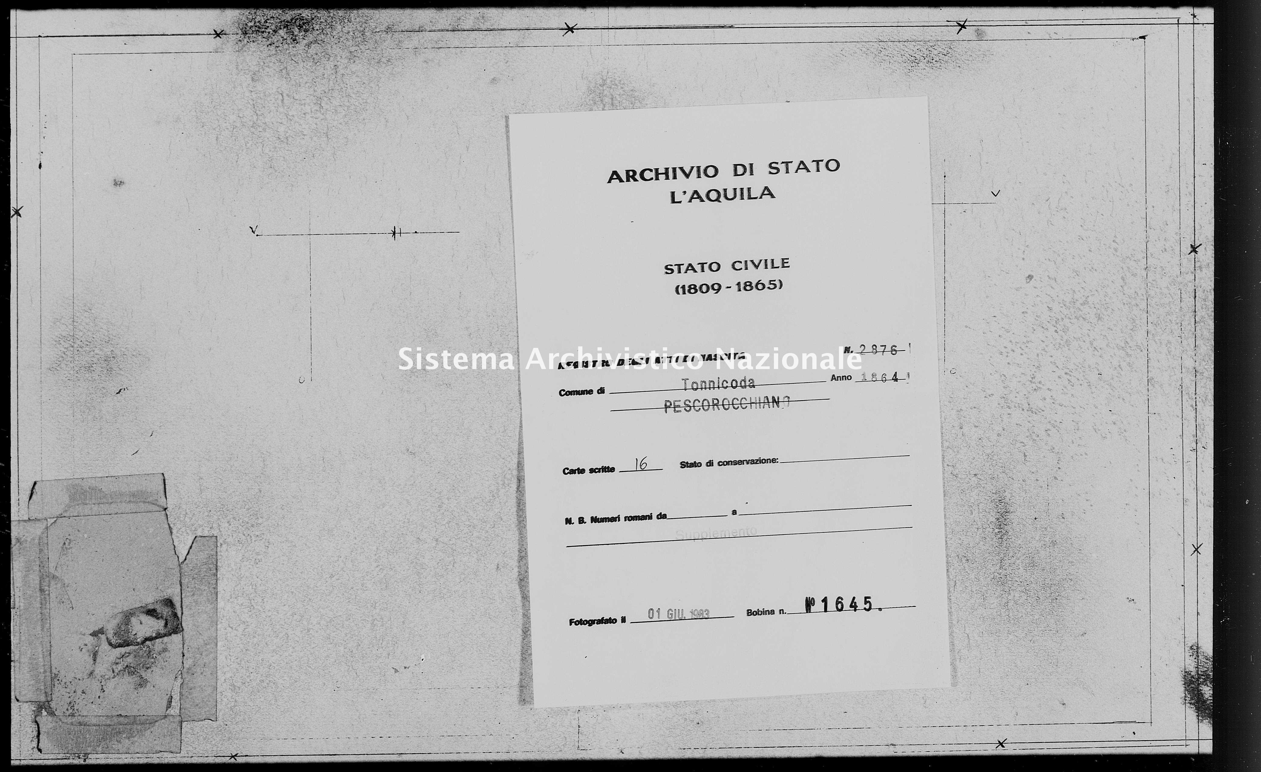 Archivio di stato di L'aquila - Stato civile italiano - Tonnicoda - Nati, battesimi - 1864 - 2876 -