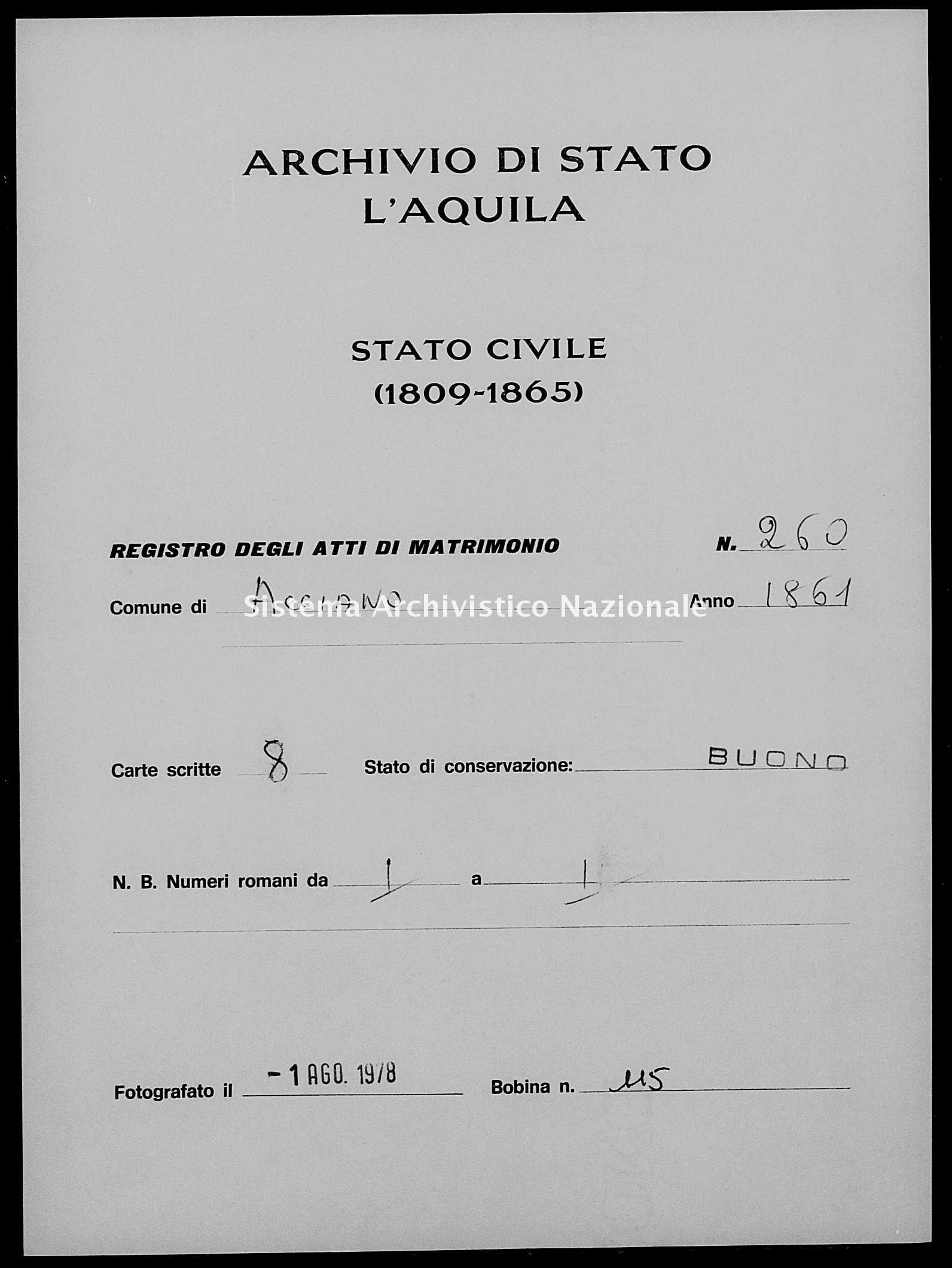 Archivio di stato di L'aquila - Stato civile italiano - Acciano - Matrimoni - 1861 - 260 -
