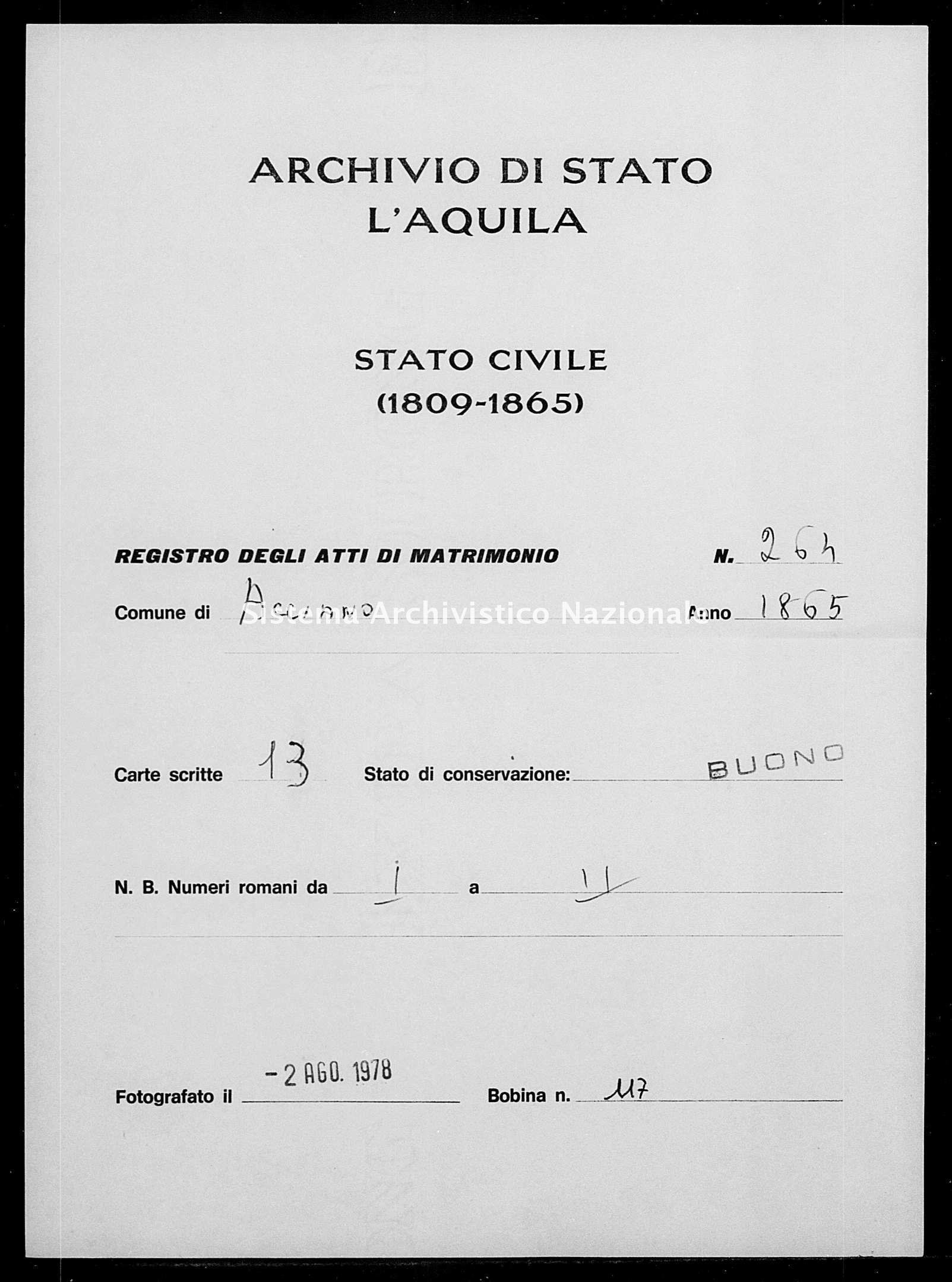 Archivio di stato di L'aquila - Stato civile italiano - Acciano - Matrimoni - 1865 - 264 -