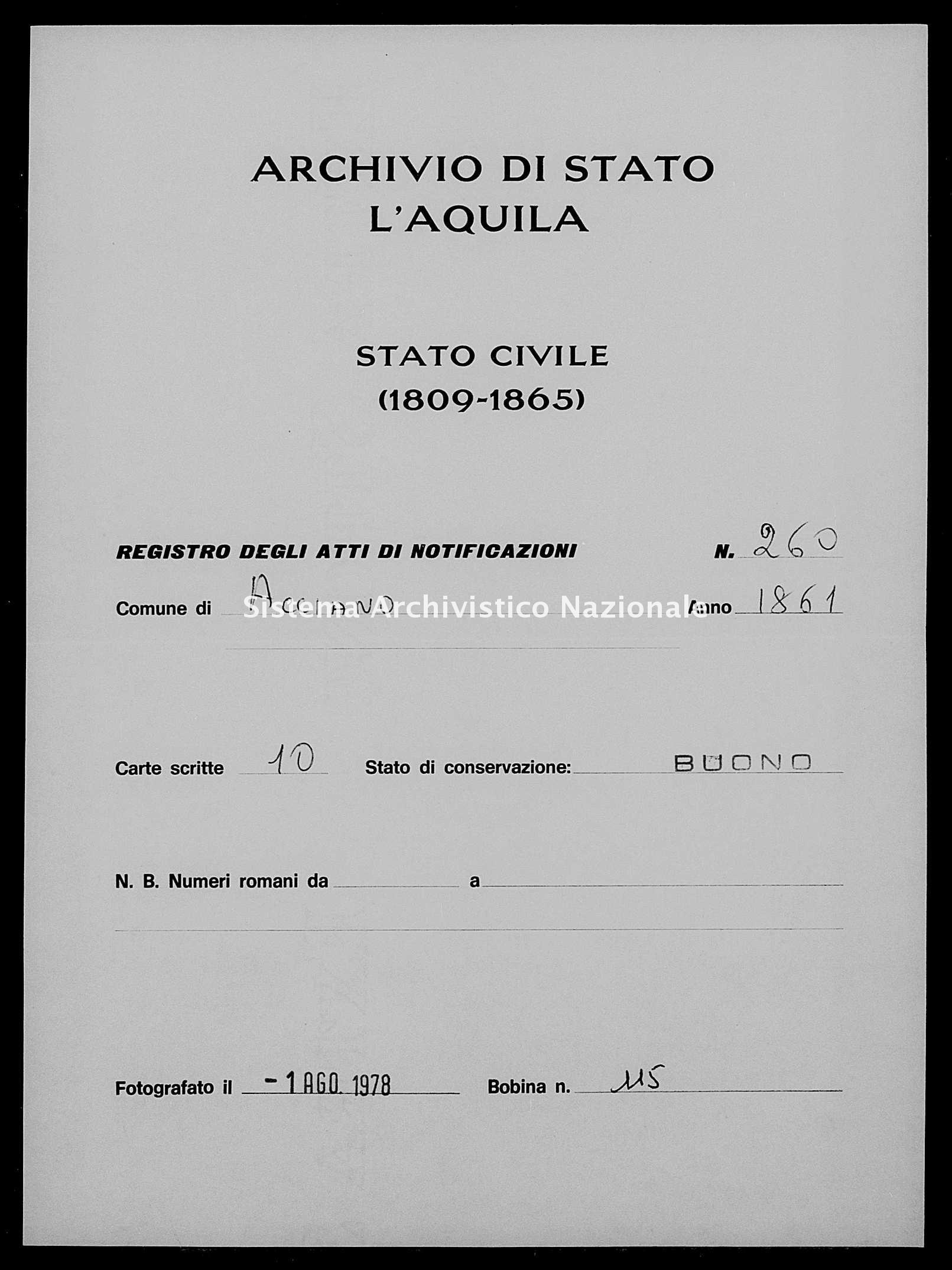 Archivio di stato di L'aquila - Stato civile italiano - Acciano - Matrimoni, memorandum notificazioni ed opposizioni - 1861 - 260 -