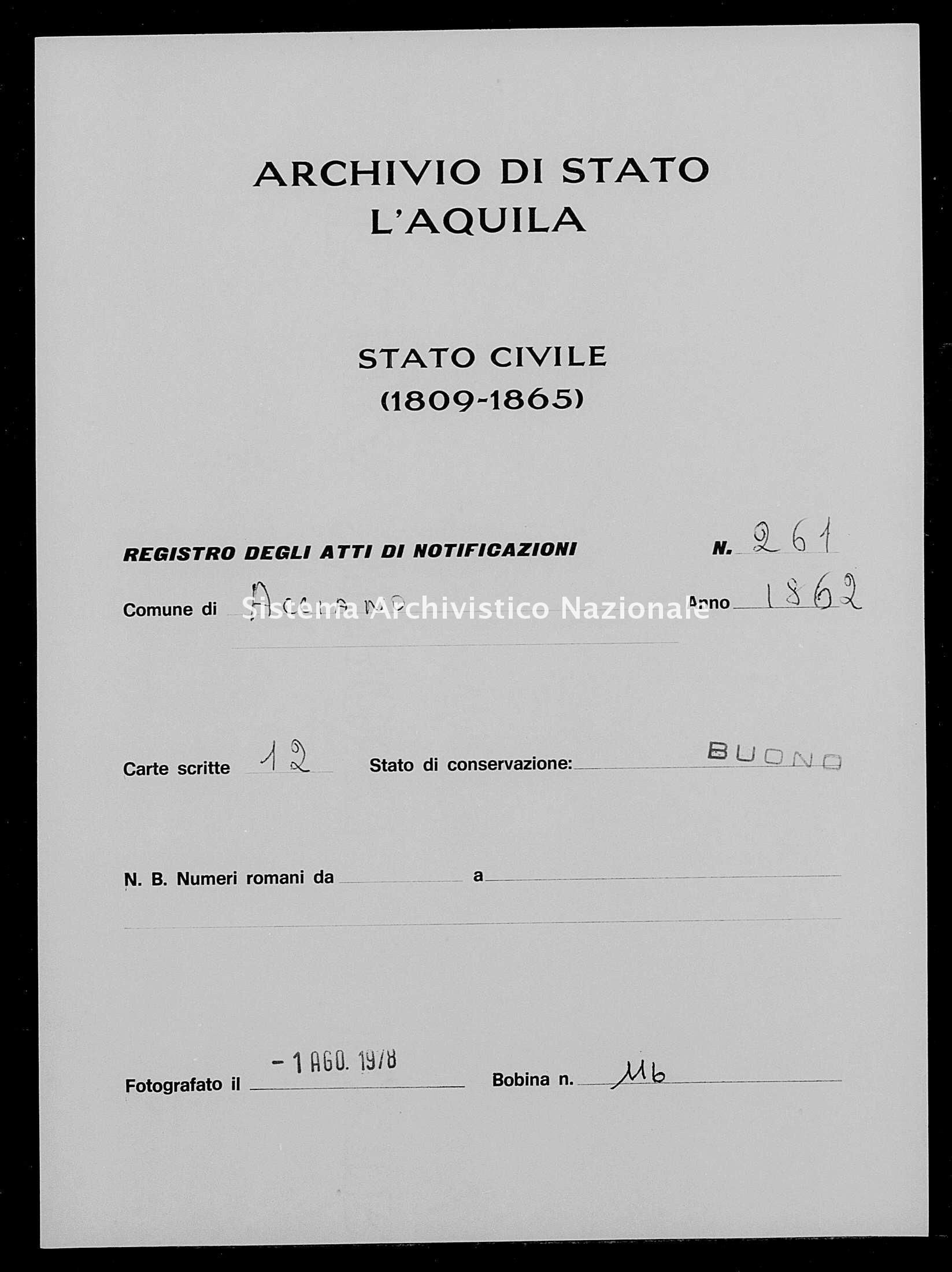 Archivio di stato di L'aquila - Stato civile italiano - Acciano - Matrimoni, memorandum notificazioni ed opposizioni - 1862 - 261 -