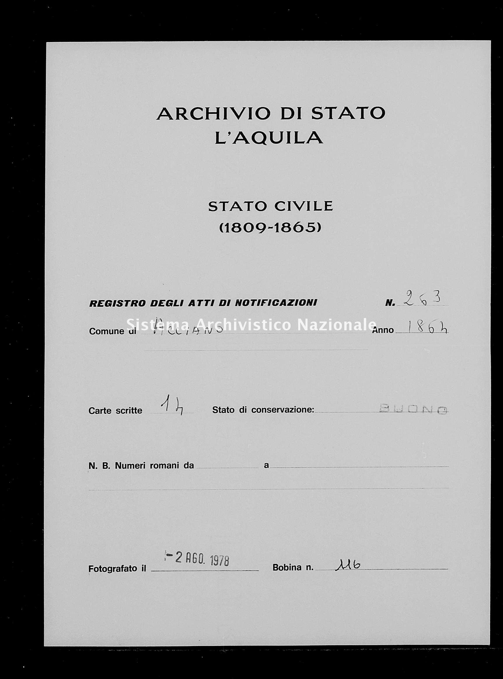 Archivio di stato di L'aquila - Stato civile italiano - Acciano - Matrimoni, memorandum notificazioni ed opposizioni - 1864 - 263 -
