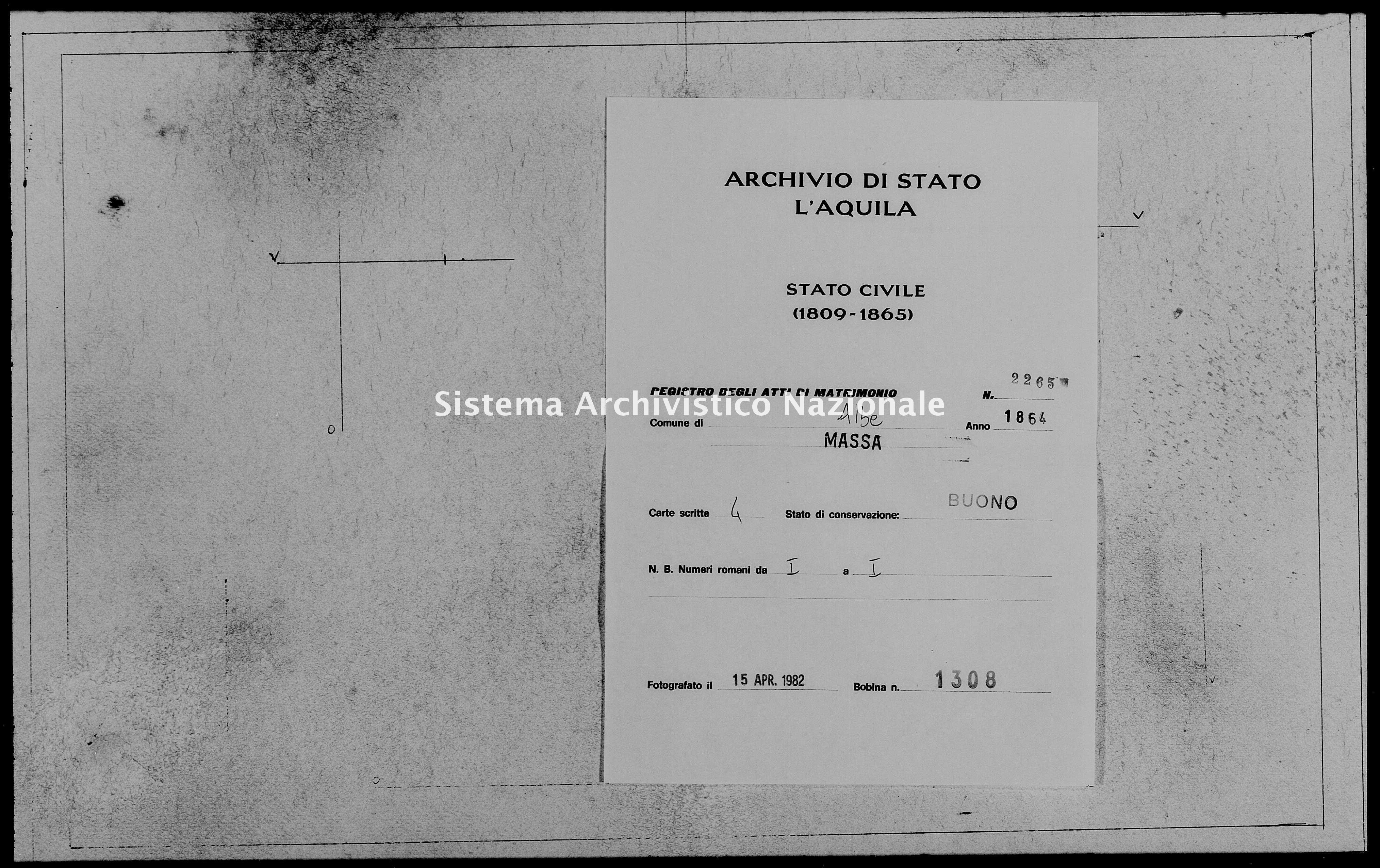 Archivio di stato di L'aquila - Stato civile italiano - Albe - Matrimoni - 1864 - 2265 -