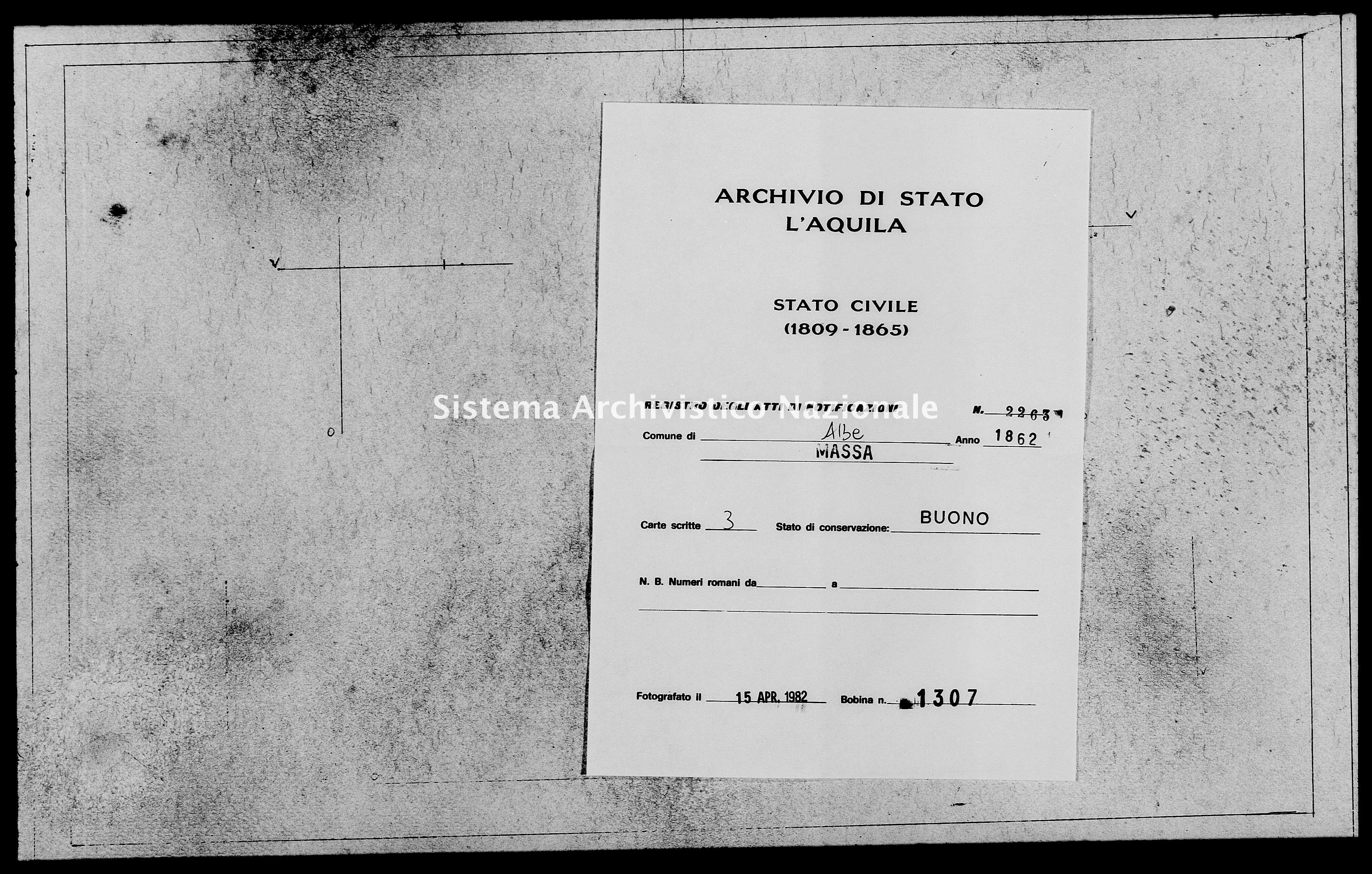 Archivio di stato di L'aquila - Stato civile italiano - Albe - Matrimoni, memorandum notificazioni ed opposizioni - 1862 - 2263 -