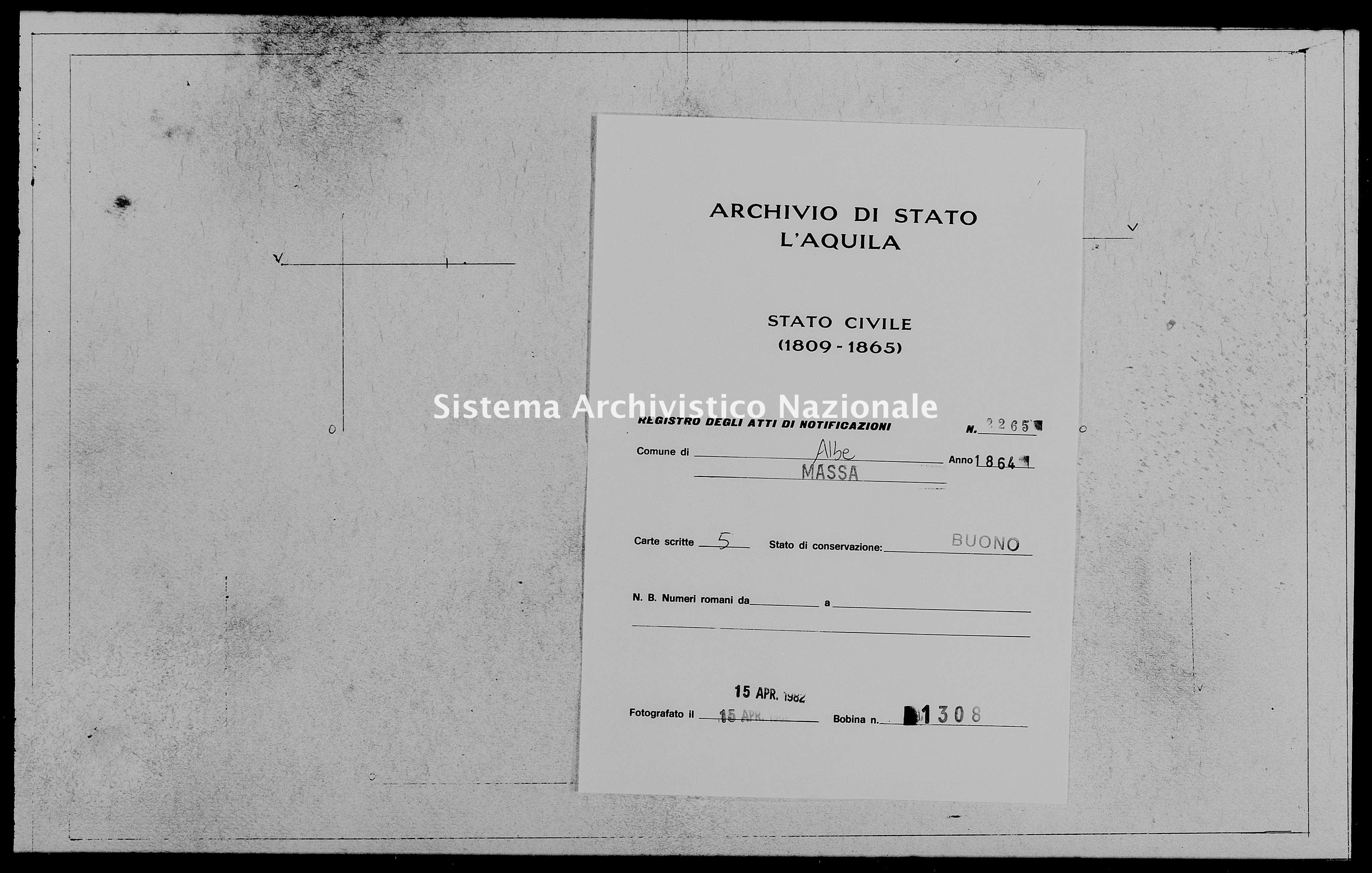 Archivio di stato di L'aquila - Stato civile italiano - Albe - Matrimoni, memorandum notificazioni ed opposizioni - 1864 - 2265 -