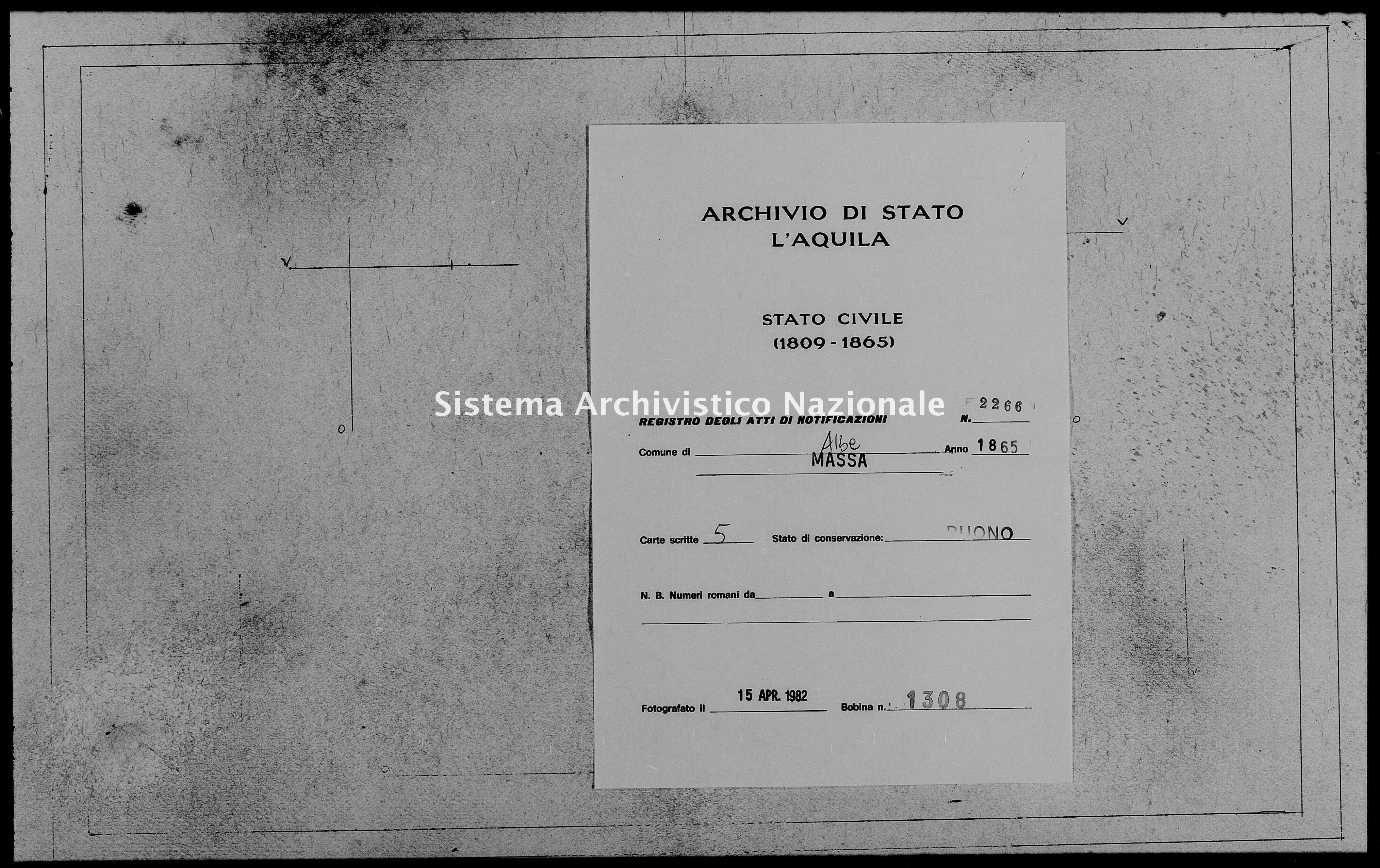 Archivio di stato di L'aquila - Stato civile italiano - Albe - Matrimoni, memorandum notificazioni ed opposizioni - 1865 - 2266 -