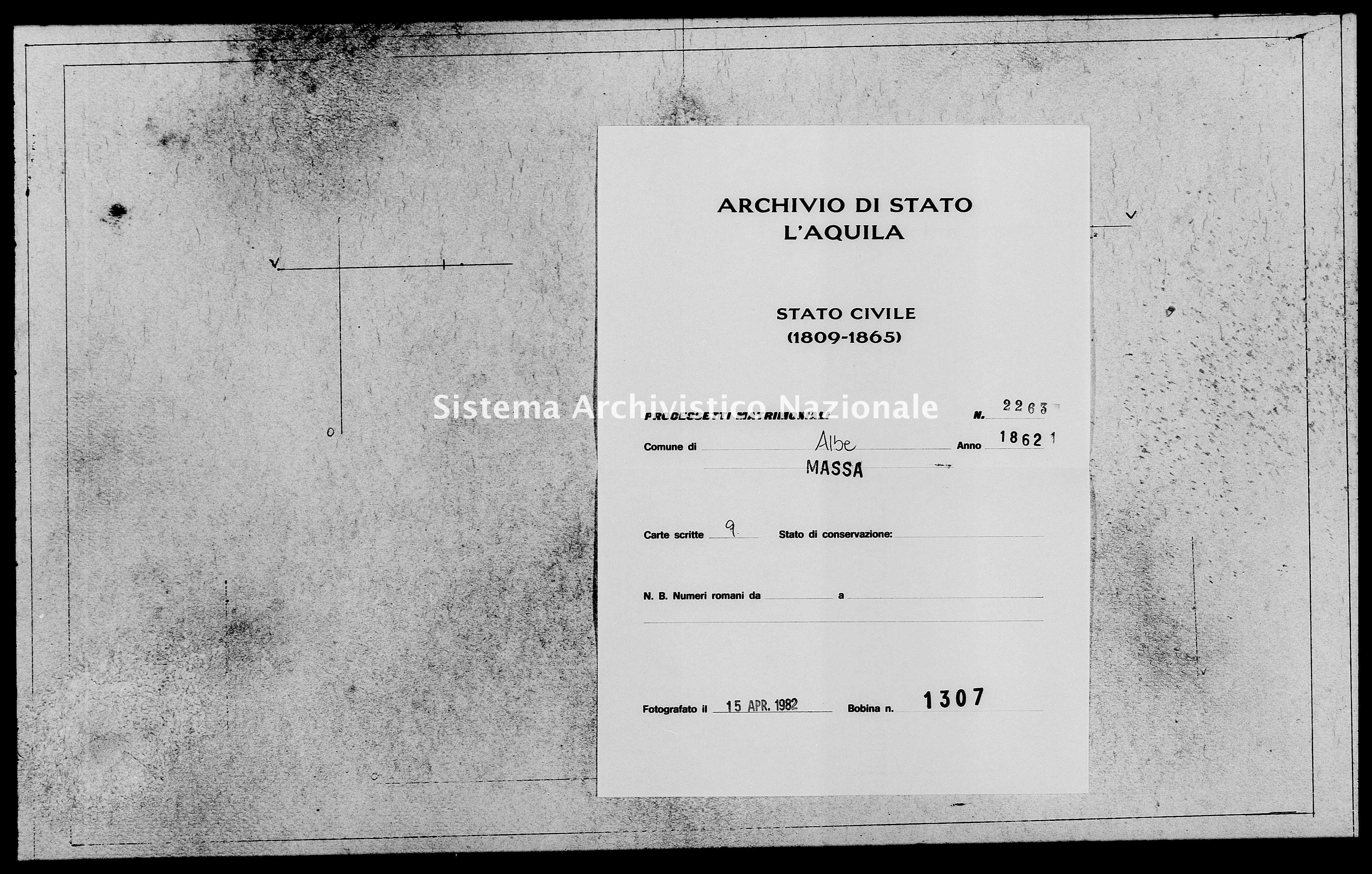 Archivio di stato di L'aquila - Stato civile italiano - Albe - Matrimoni, processetti - 1862 - 2263 -