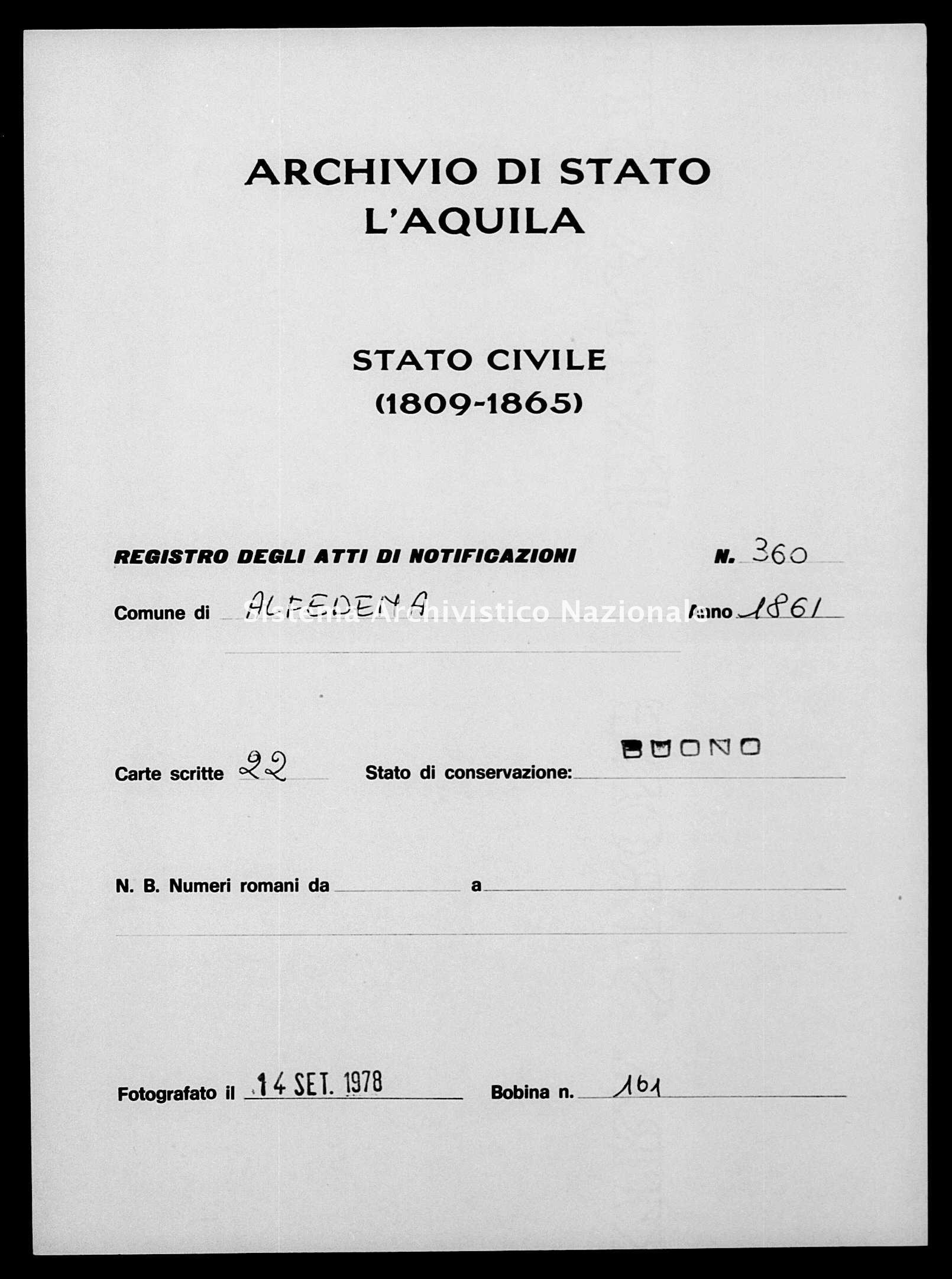 Archivio di stato di L'aquila - Stato civile italiano - Alfedena - Matrimoni, memorandum notificazioni ed opposizioni - 1861 - 360 -