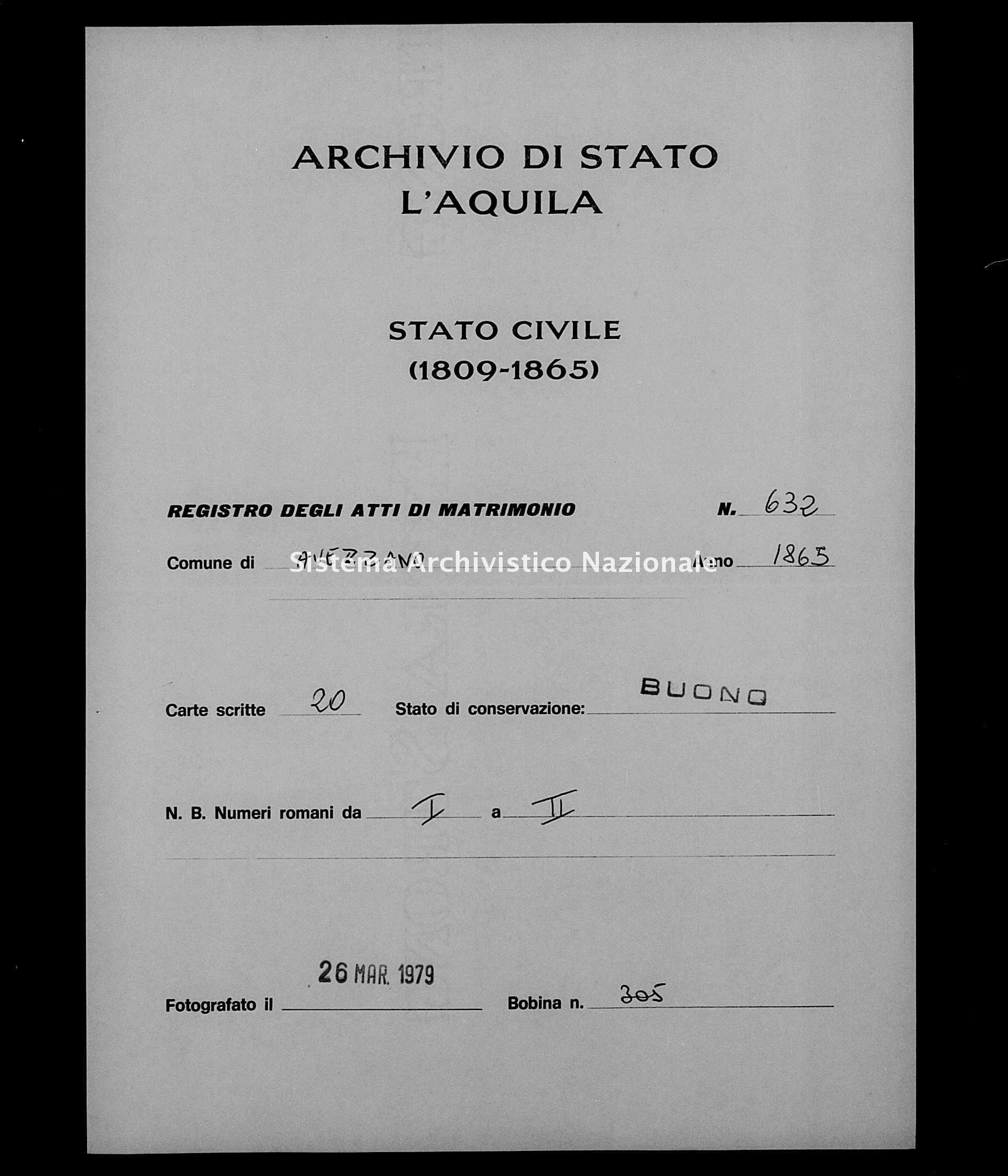 Archivio di stato di L'aquila - Stato civile italiano - Avezzano - Matrimoni - 1865 - 632 -