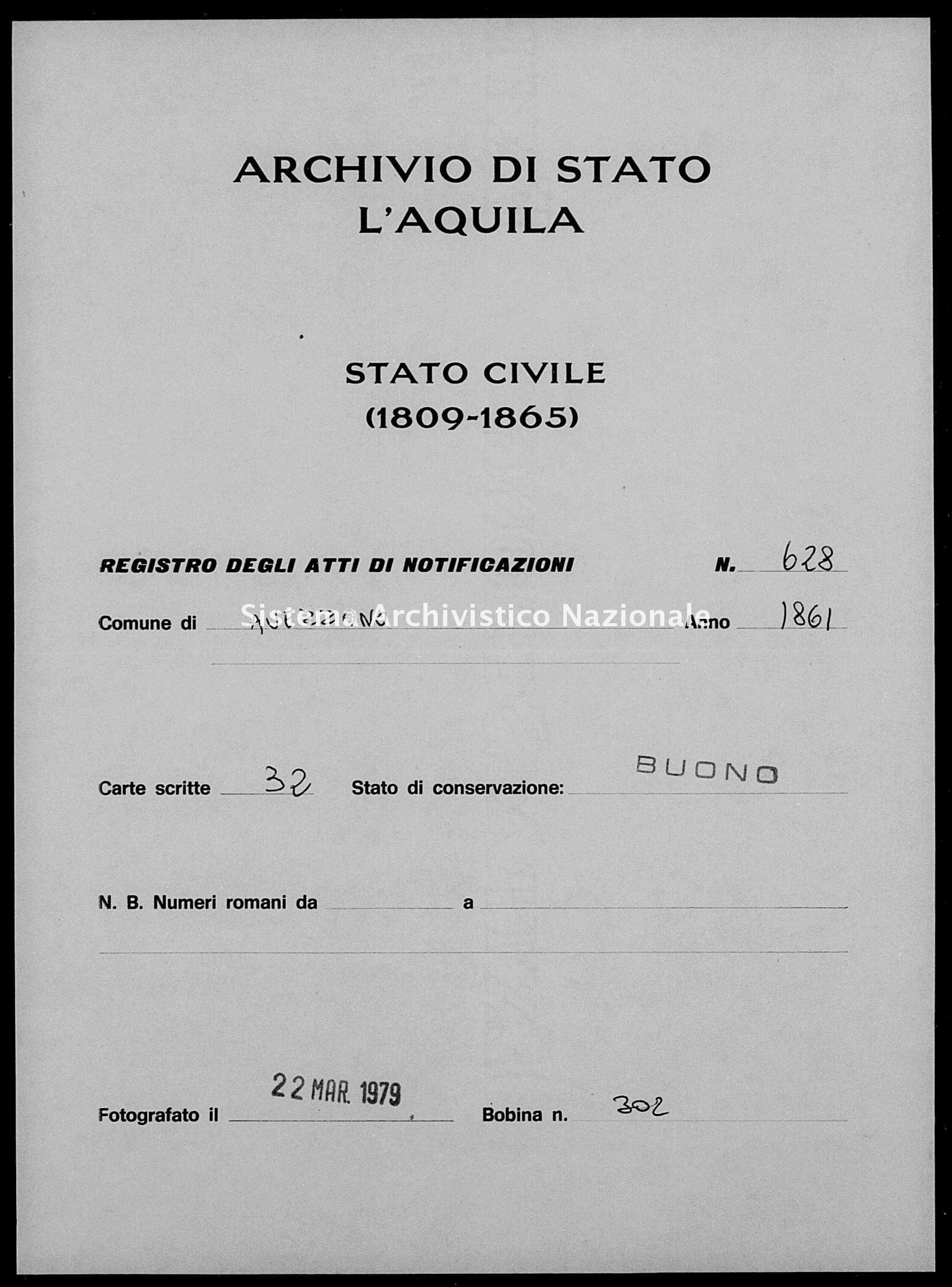 Archivio di stato di L'aquila - Stato civile italiano - Avezzano - Matrimoni, memorandum notificazioni ed opposizioni - 1861 - 628 -