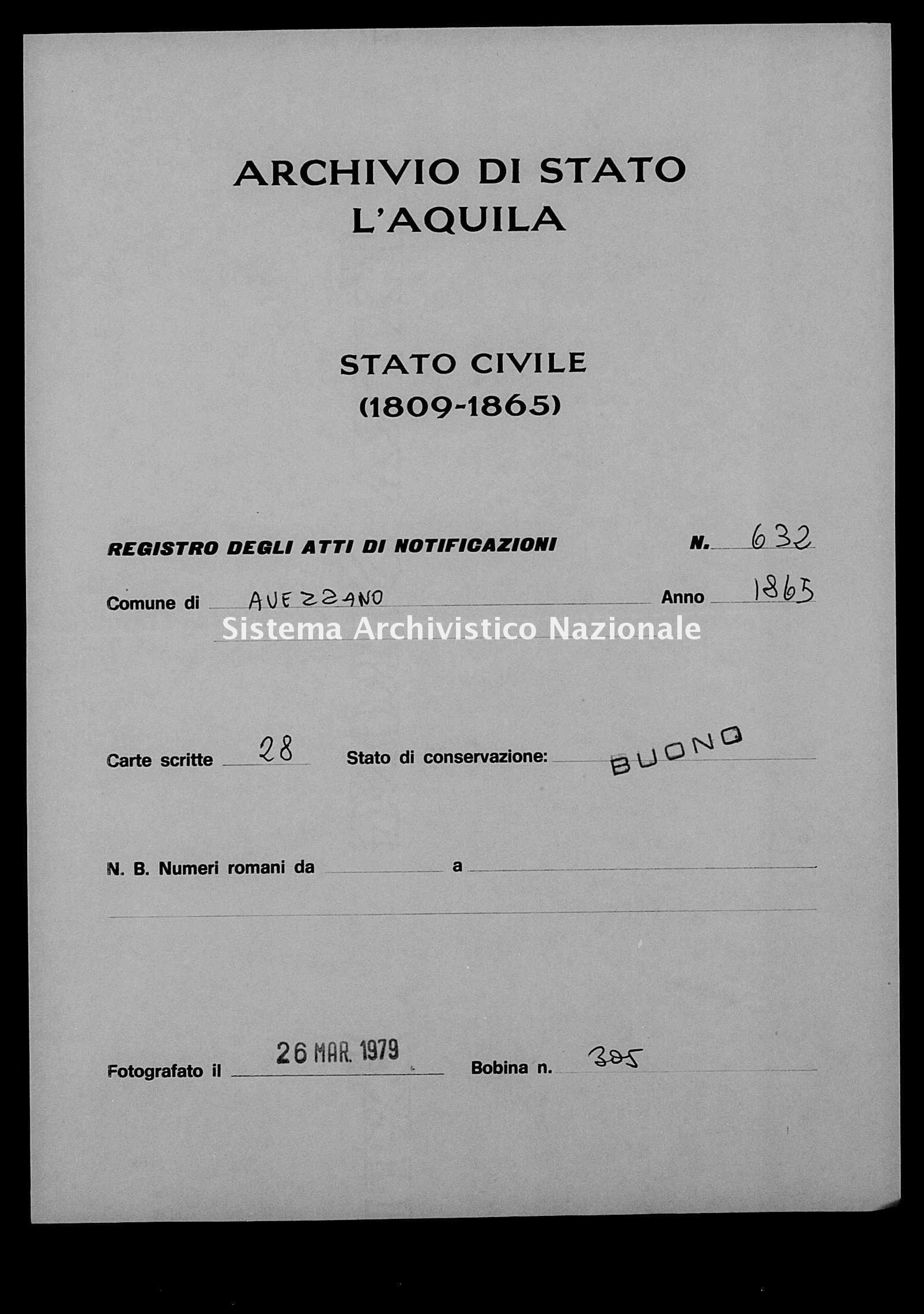 Archivio di stato di L'aquila - Stato civile italiano - Avezzano - Matrimoni, memorandum notificazioni ed opposizioni - 1865 - 632 -
