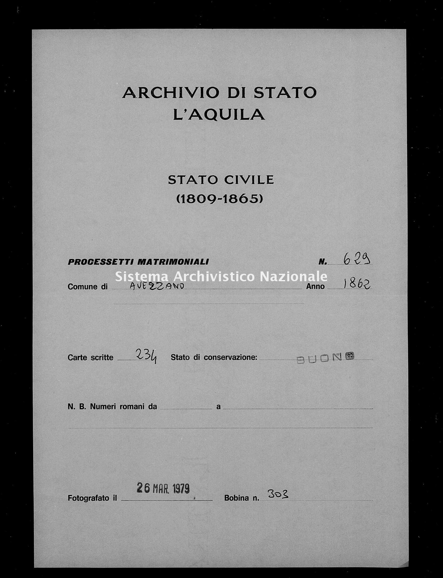 Archivio di stato di L'aquila - Stato civile italiano - Avezzano - Matrimoni, processetti - 1862 - 629 -