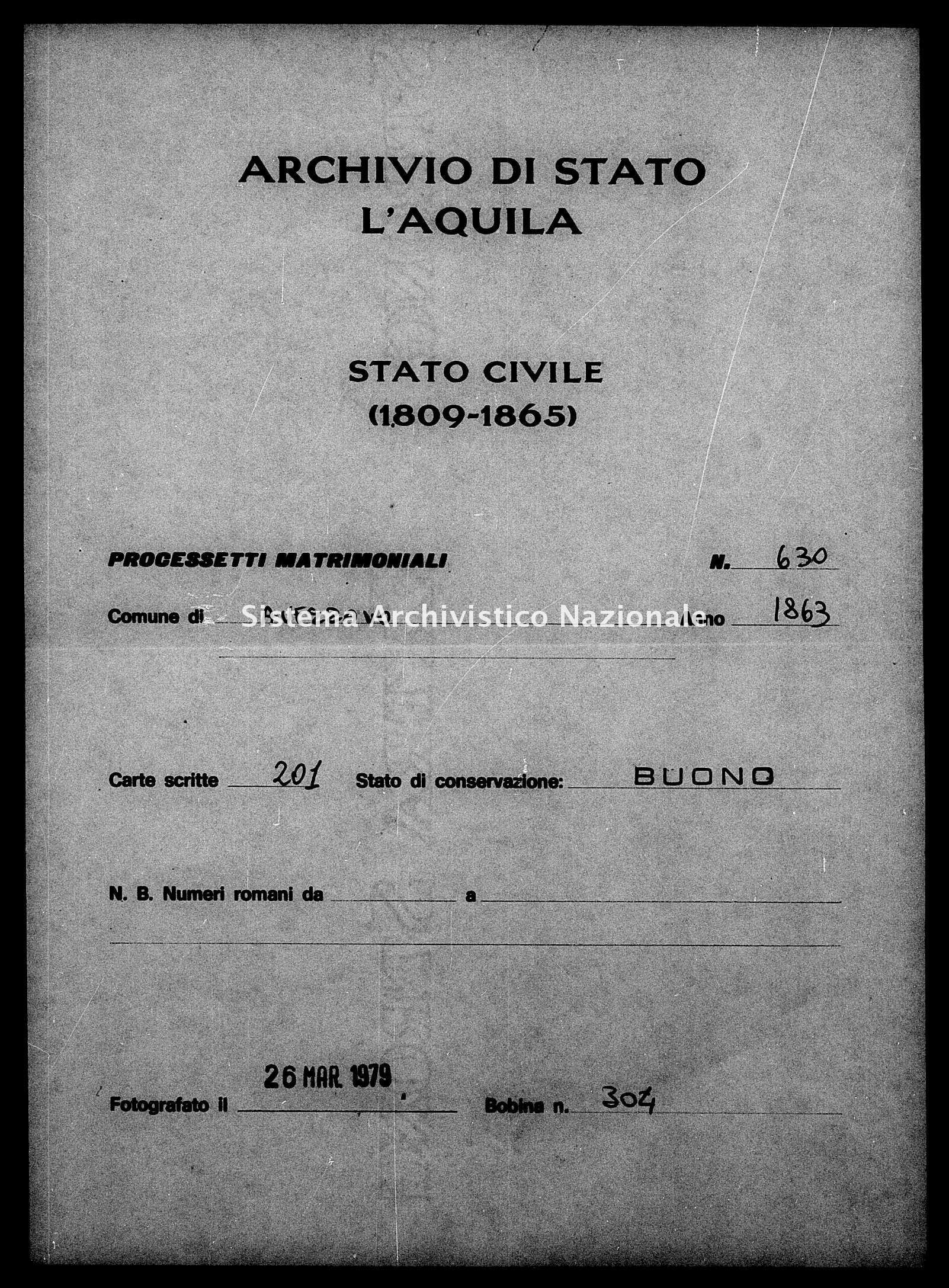Archivio di stato di L'aquila - Stato civile italiano - Avezzano - Matrimoni, processetti - 1863 - 630 -