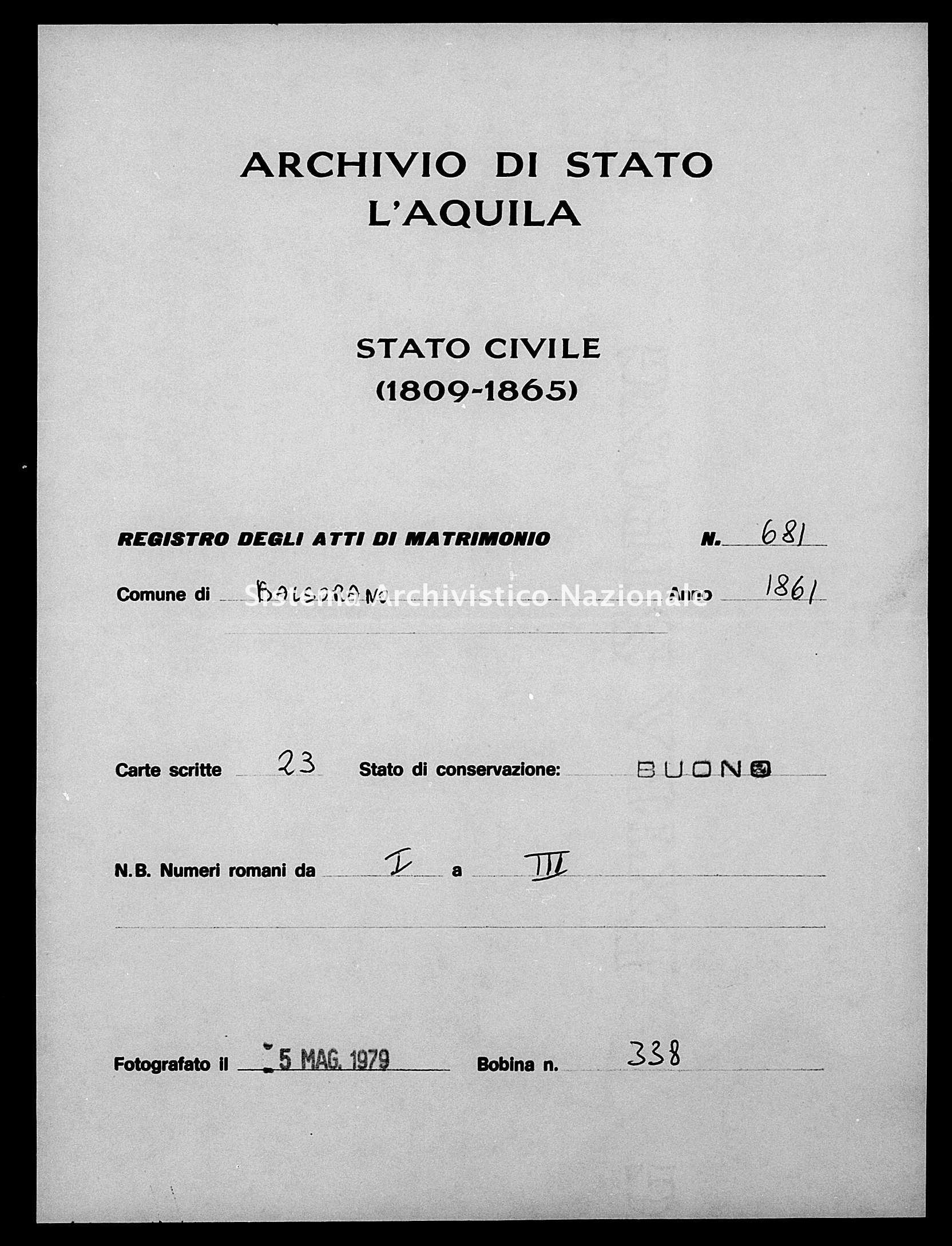 Archivio di stato di L'aquila - Stato civile italiano - Balsorano - Matrimoni - 1861 - 681 -