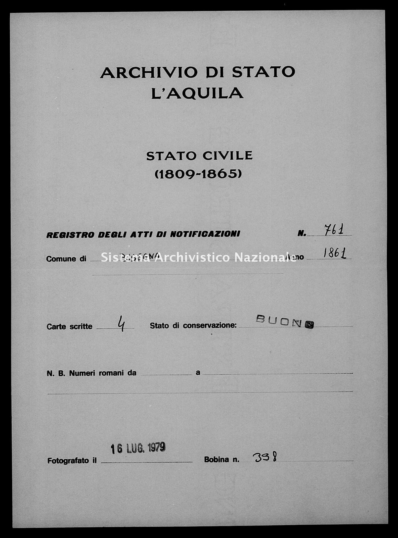 Archivio di stato di L'aquila - Stato civile italiano - Bisegna - Matrimoni, memorandum notificazioni ed opposizioni - 1861 - 761 -