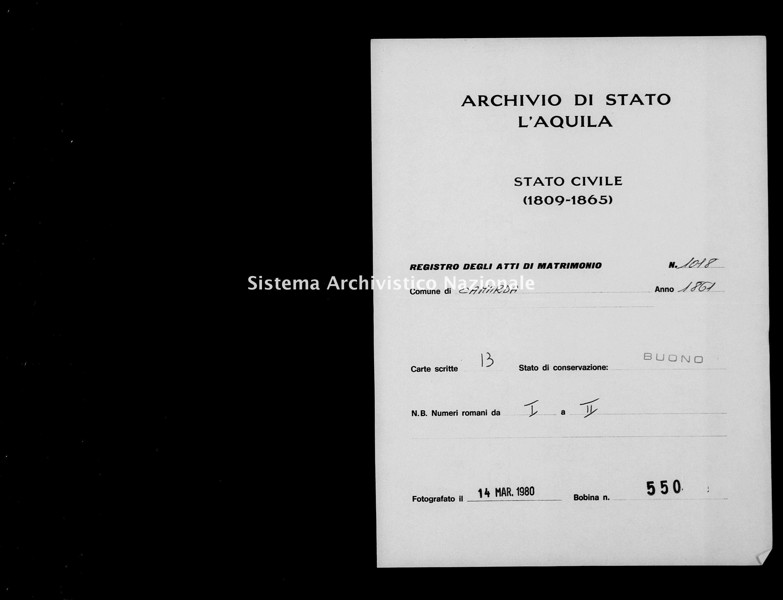 Archivio di stato di L'aquila - Stato civile italiano - Camarda - Matrimoni - 1861 - 1018 -