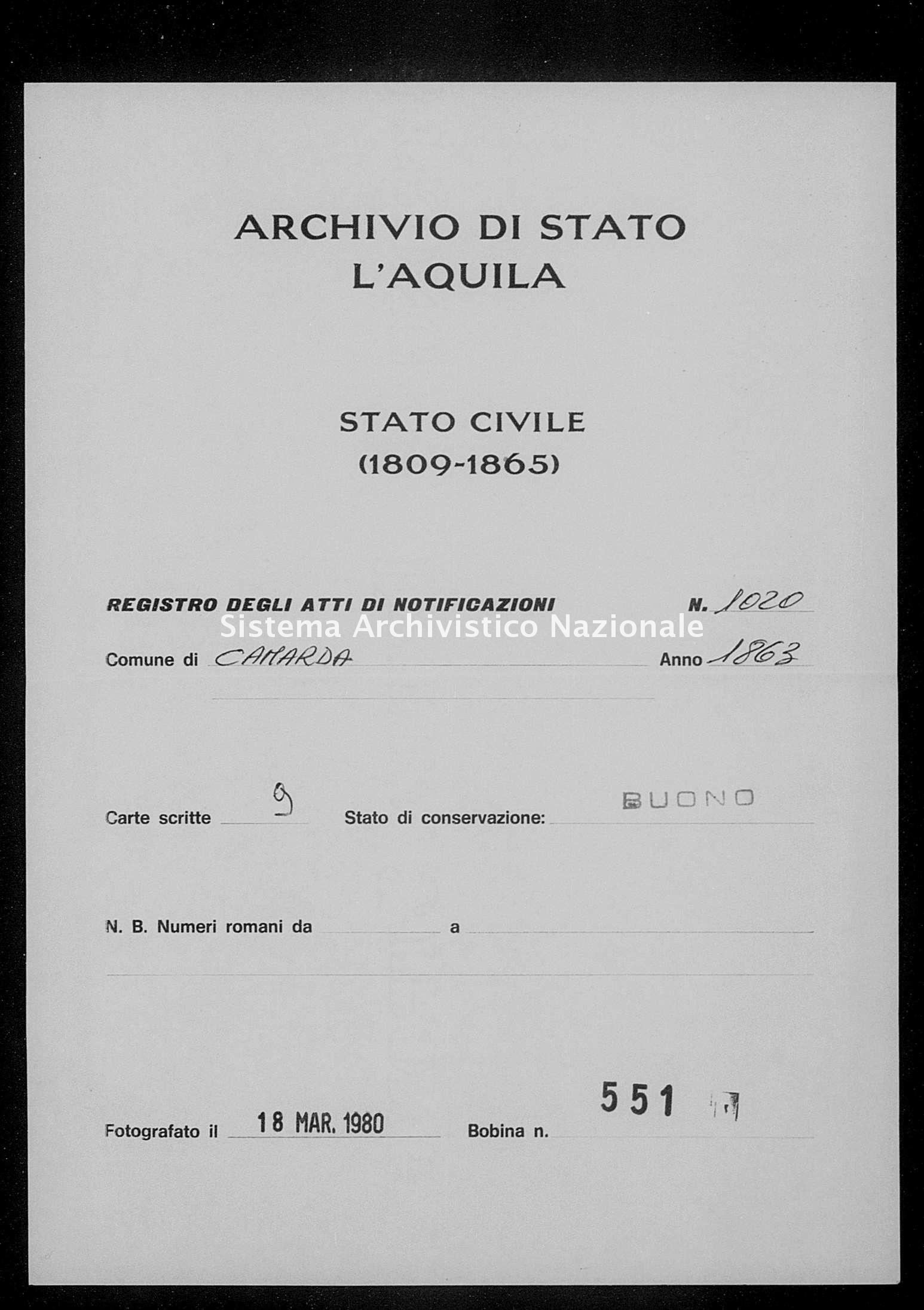 Archivio di stato di L'aquila - Stato civile italiano - Camarda - Matrimoni, memorandum notificazioni ed opposizioni - 1863 - 1020 -