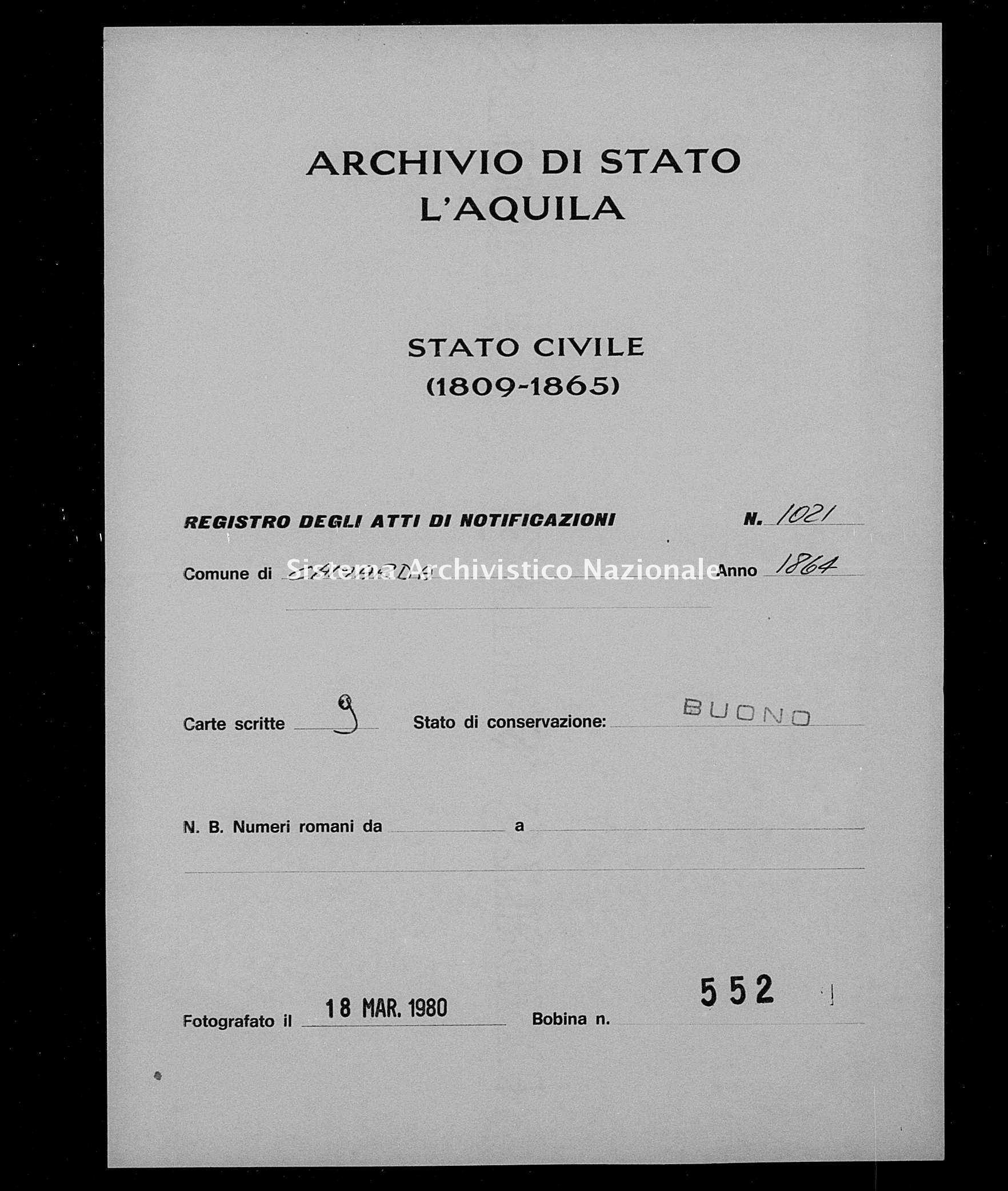 Archivio di stato di L'aquila - Stato civile italiano - Camarda - Matrimoni, memorandum notificazioni ed opposizioni - 1864 - 1021 -